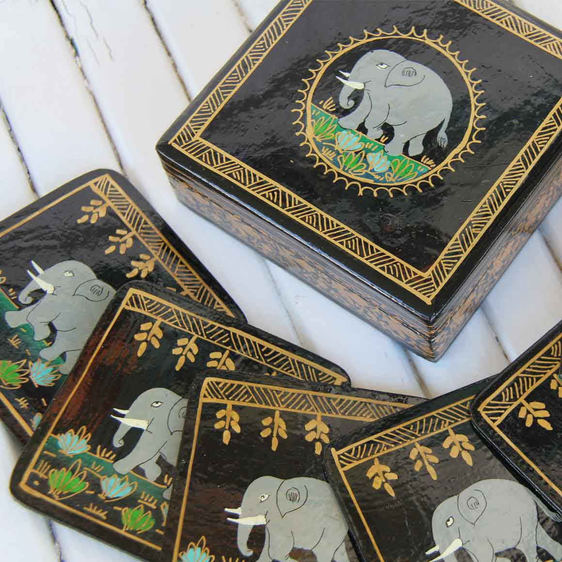 Fair Trade Ethical Square Wooden Coaster Set Black Elephant