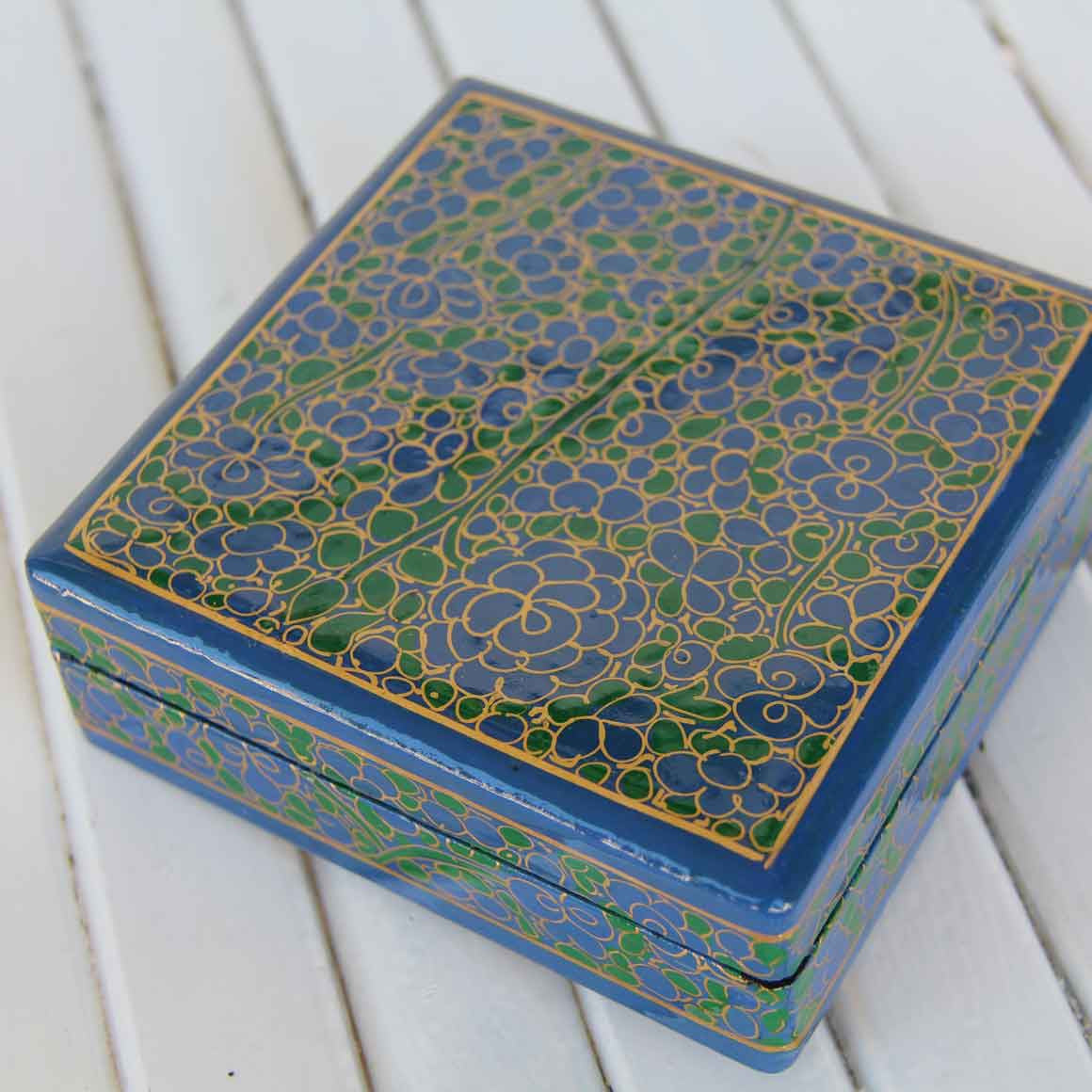 Fair Trade Ethical Square Wooden Coaster Set  Blue