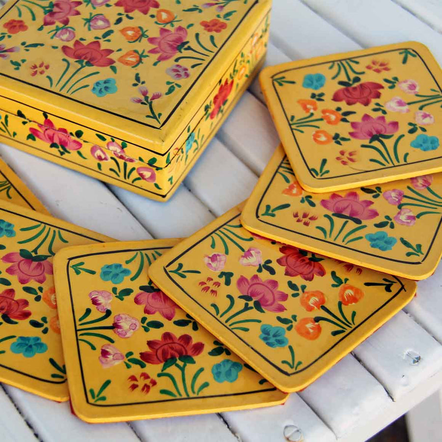 Fair Trade Square Coaster Set - Yellow Flowers