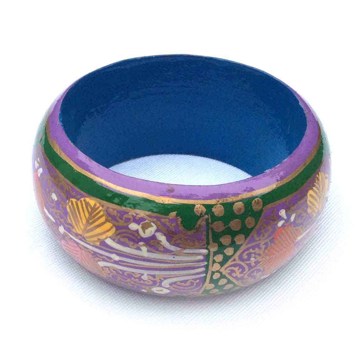 Fair Trade Large Painted Bangles - Purple and Green