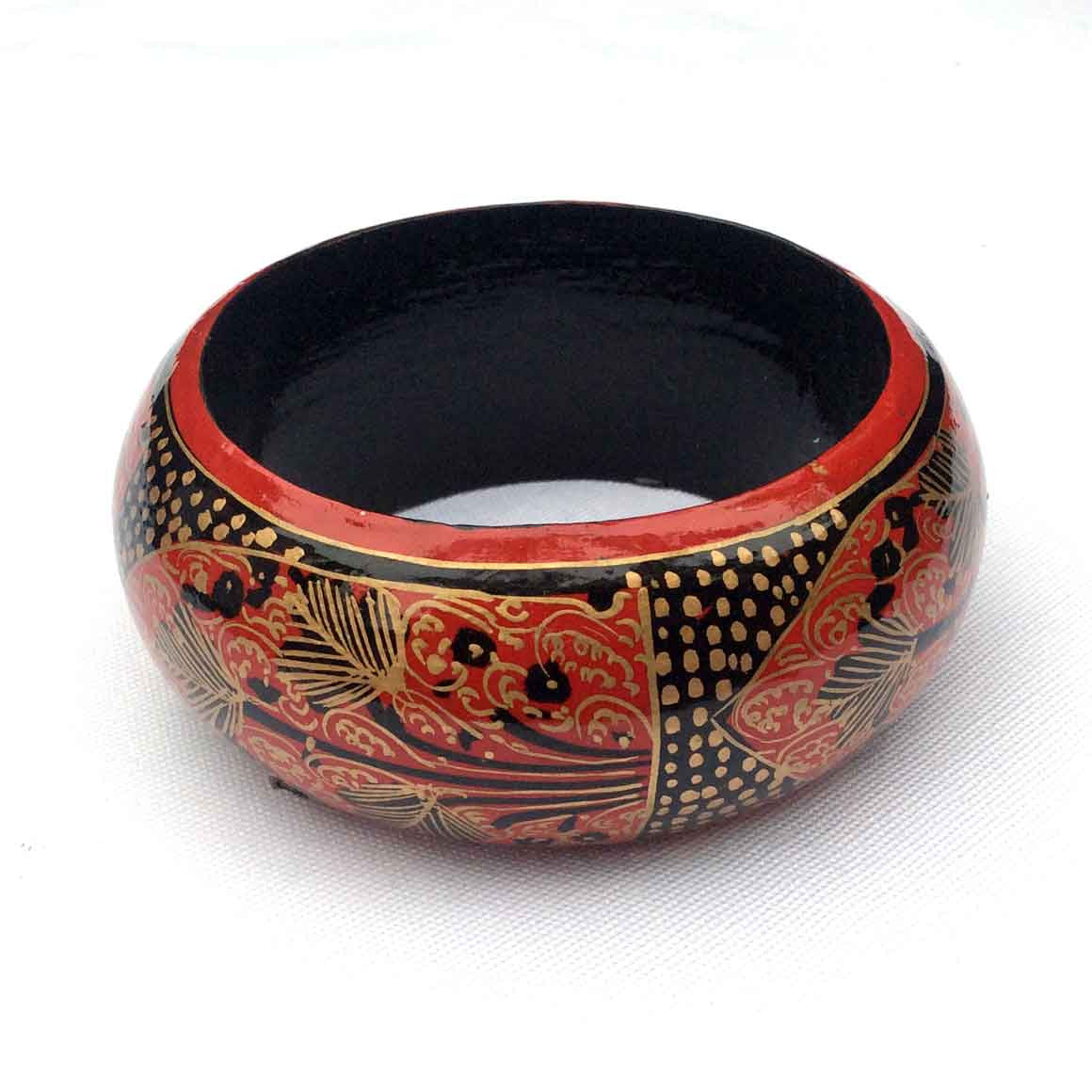 Fair Trade Large Painted Bangles - Red and Black