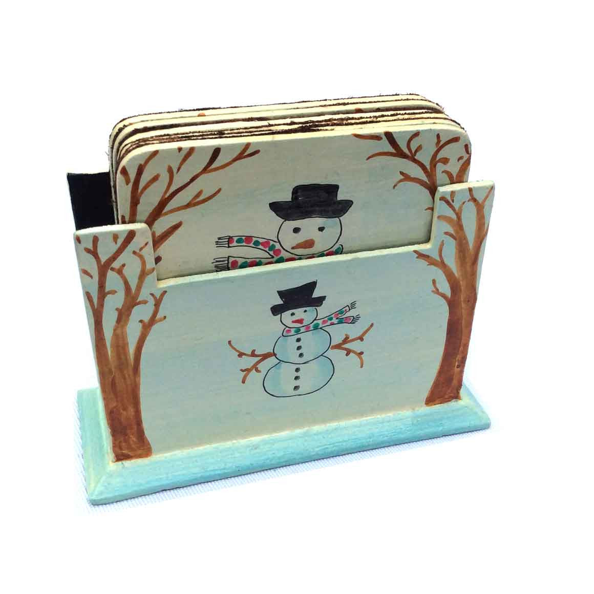 Fair Trade Ethical Snowman Hand-Painted Coaster Set