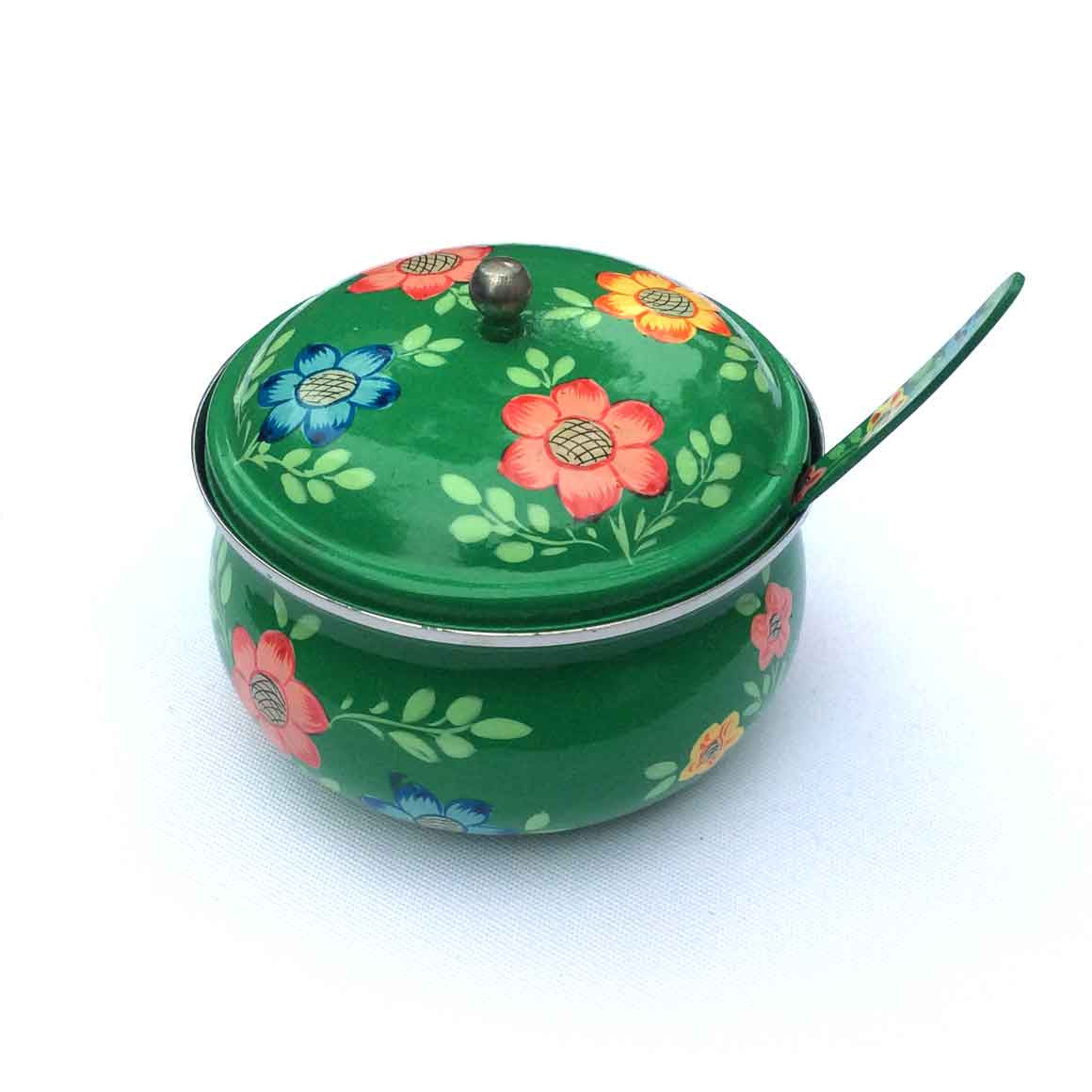 Fair Trade Ethical Homewares and Decoration Hand Painted Steel Sugar Bowl Green