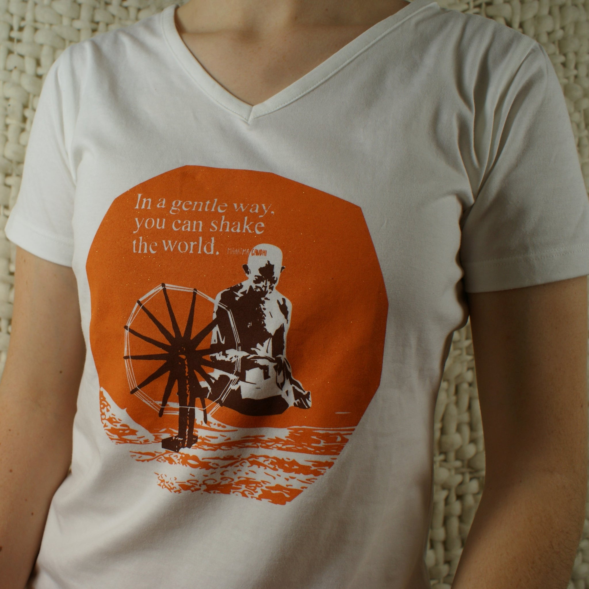 Fairtrade Ethical Women's V-neck T-Shirt Ghandi