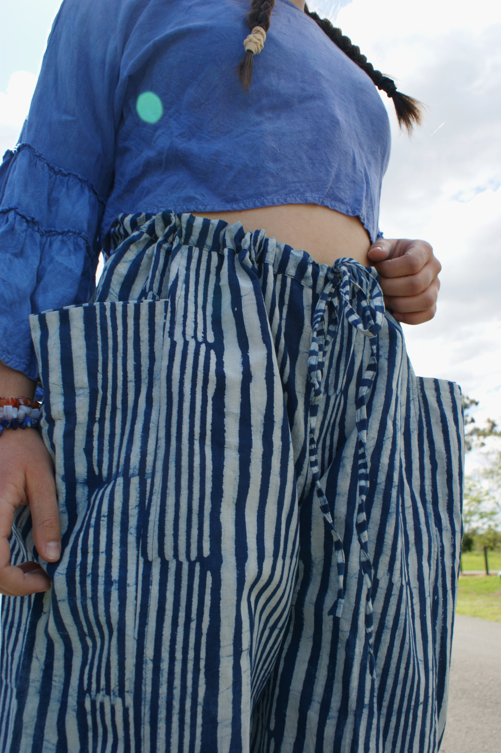 Fair Trade Ethical  Striped Cotton Pants with Pleats - Blue