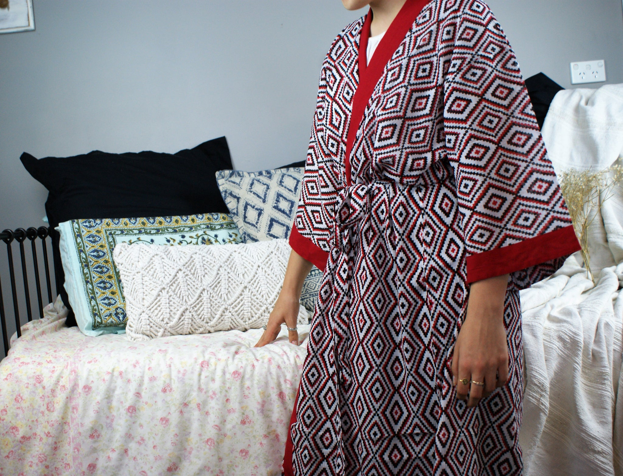 Fair Trade Ethical Cotton Robe Red Zig Zag
