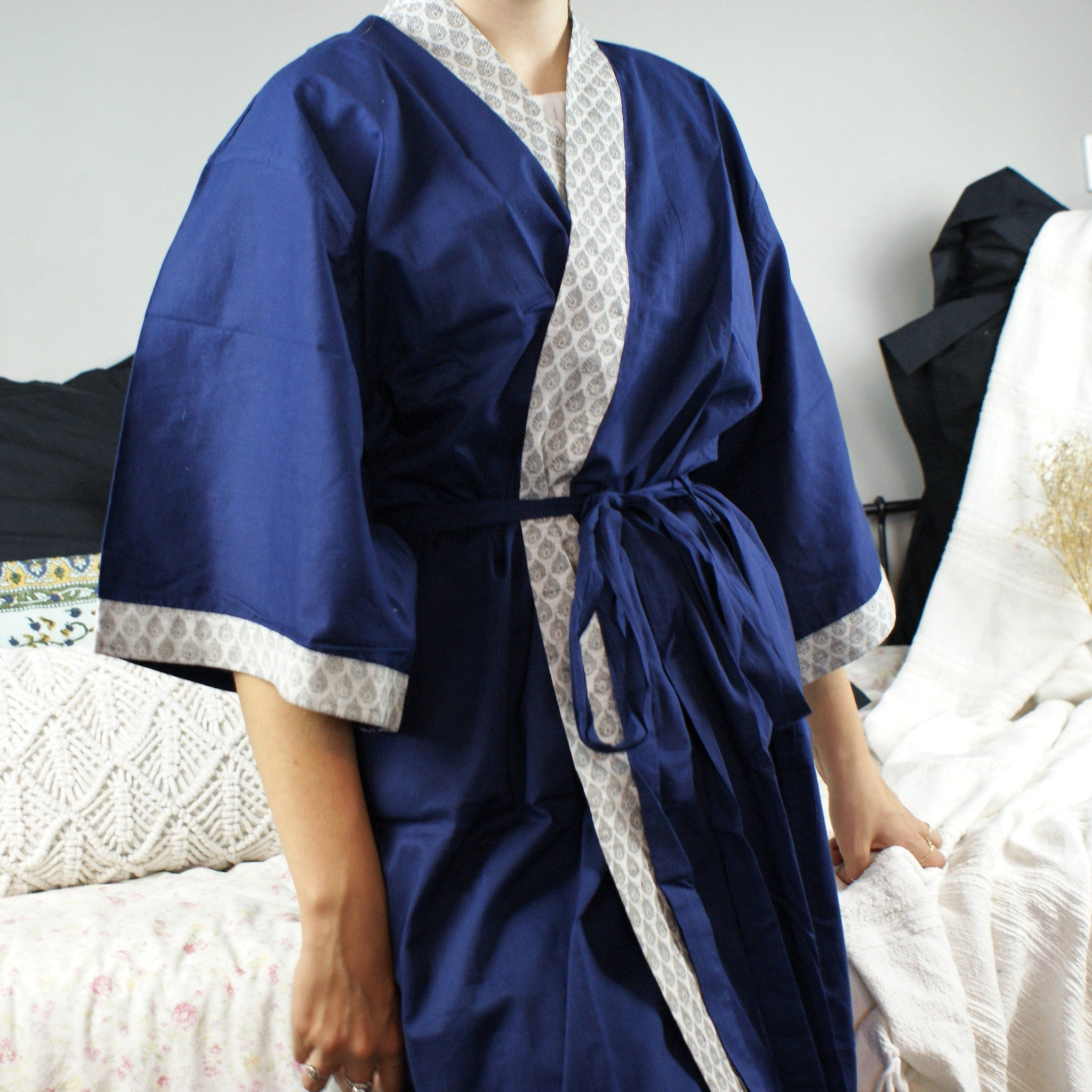 Fair Trade Ethical Cotton Robe Blue