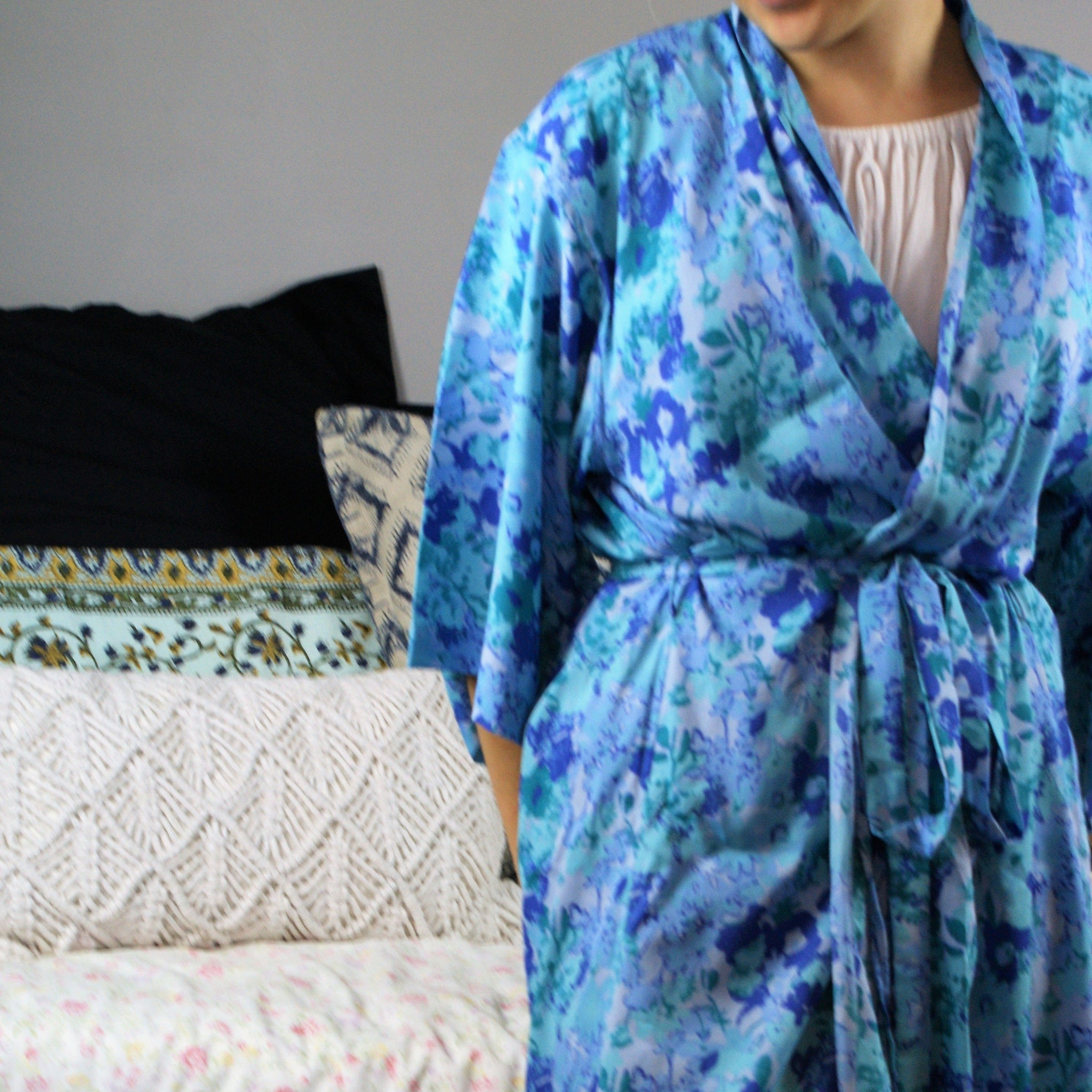 Fair Trade Floral Blues Robe