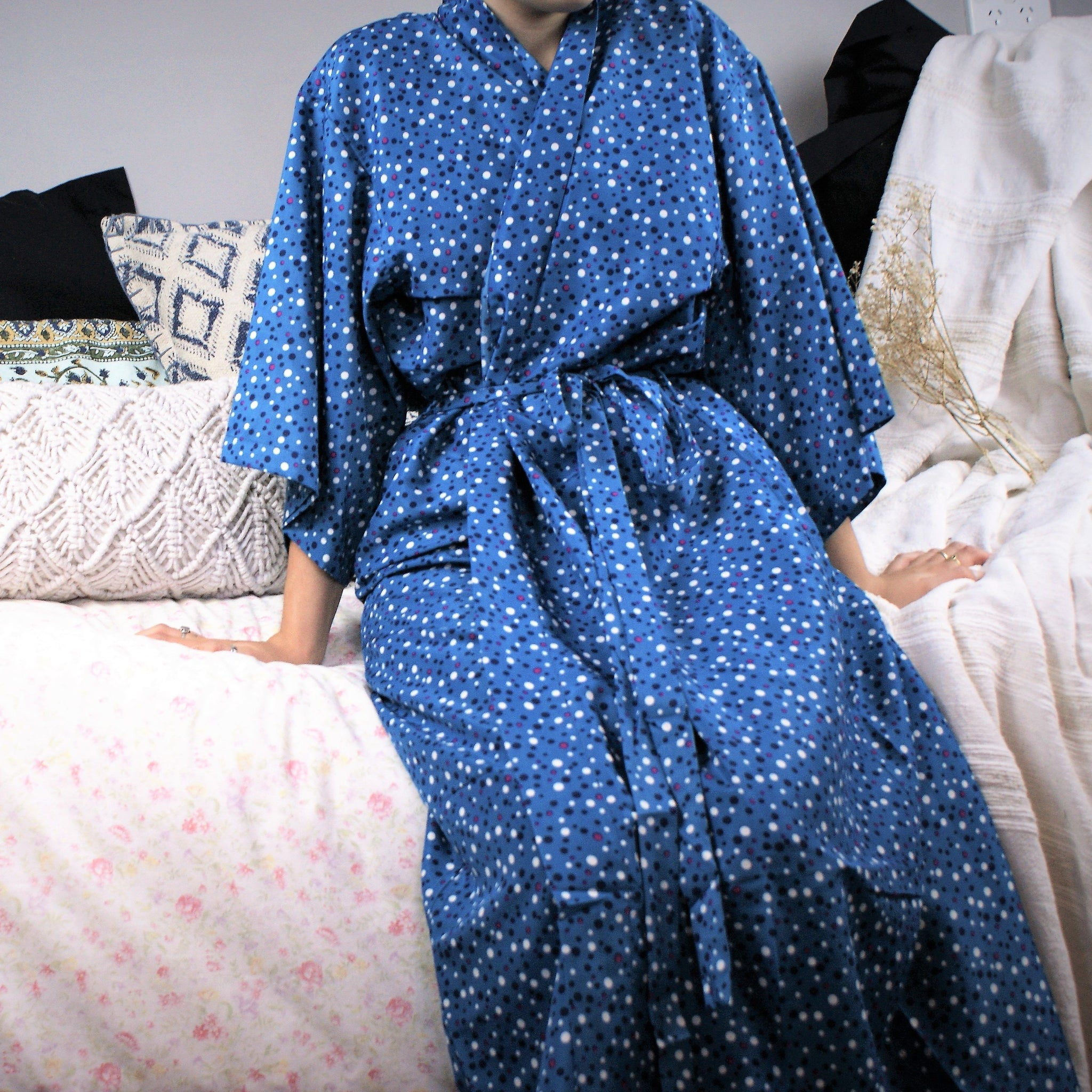 Fair Trade Poka dot Turquise Robe