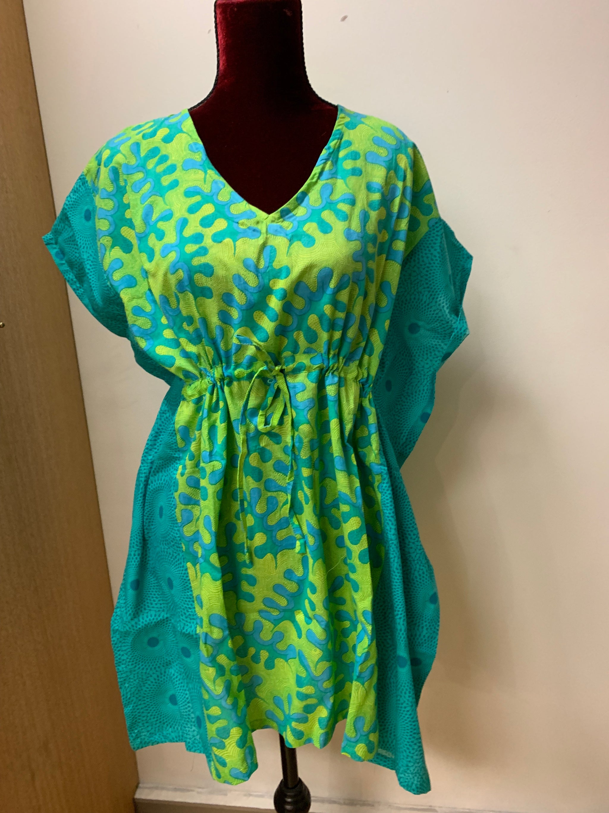 Fair Trade Short Kaftan Print Blue & Green