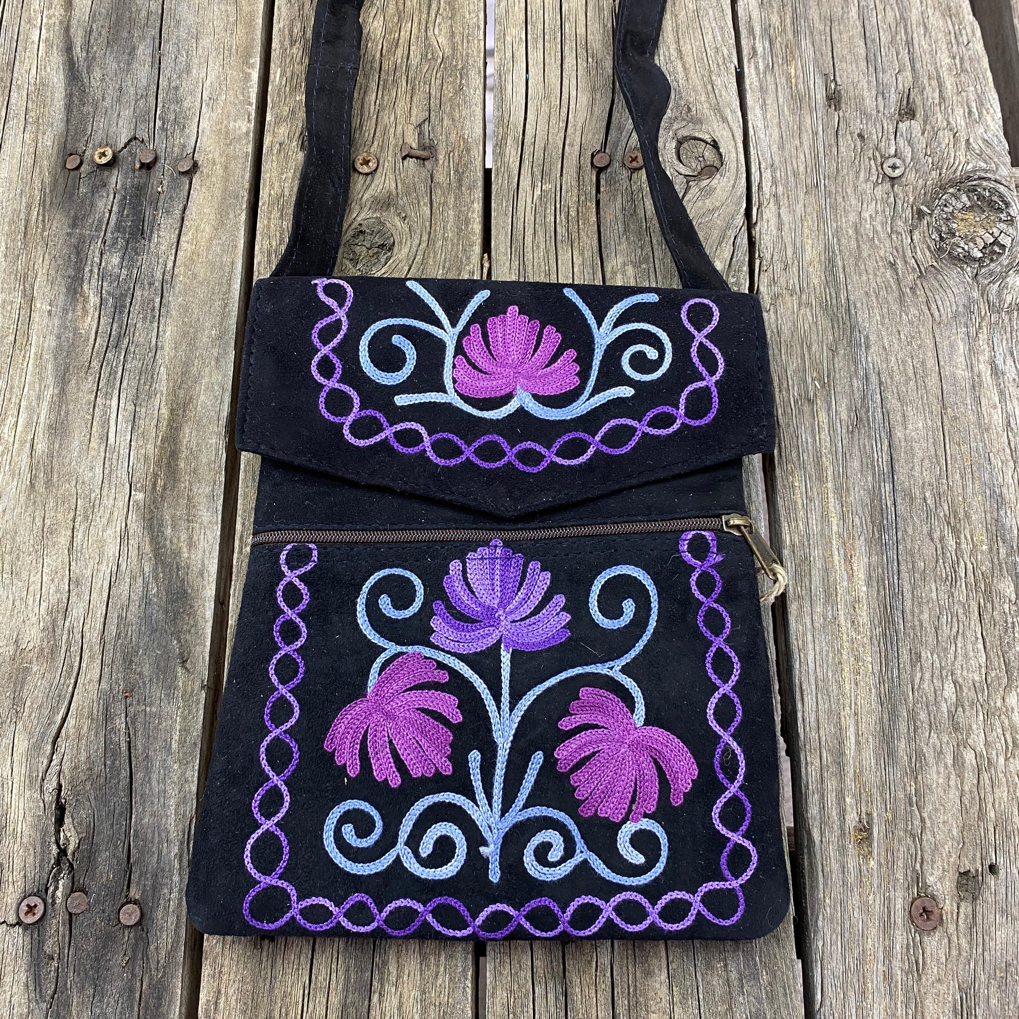 Fair Trade Ethical Embroidered Suede Flap Bag in Floral Designs Navy with Purple Flowers