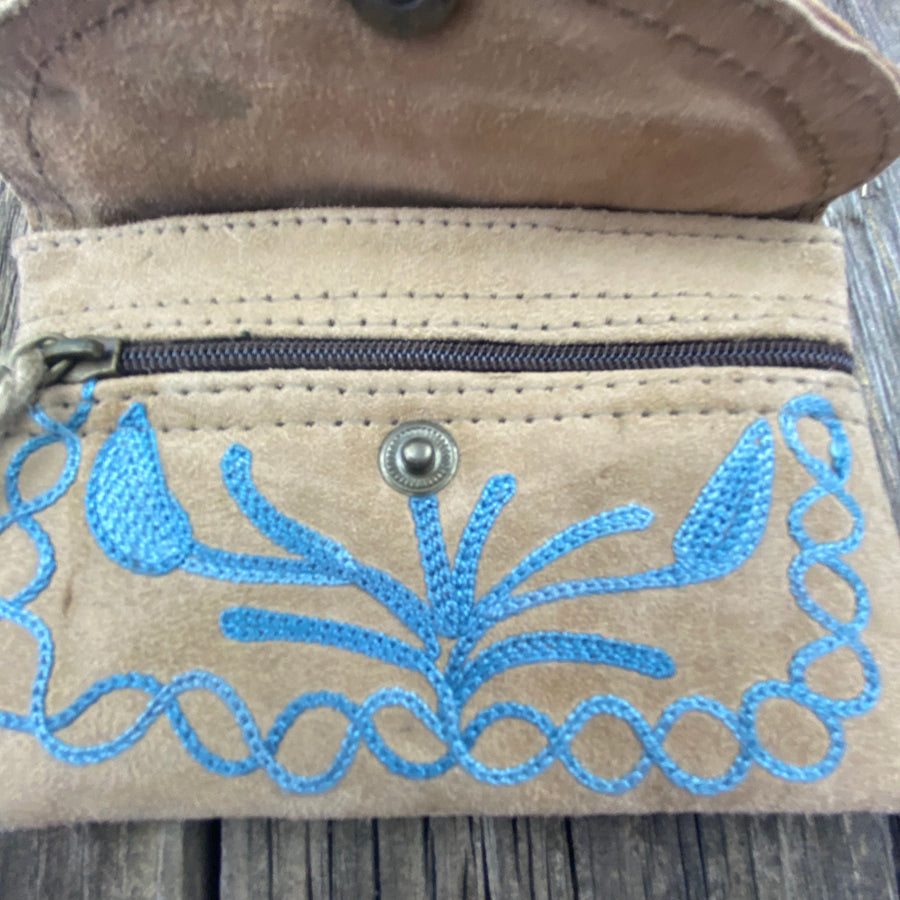 Fair Trade Ethical Embroidered Suede Purse Blue Stitching
