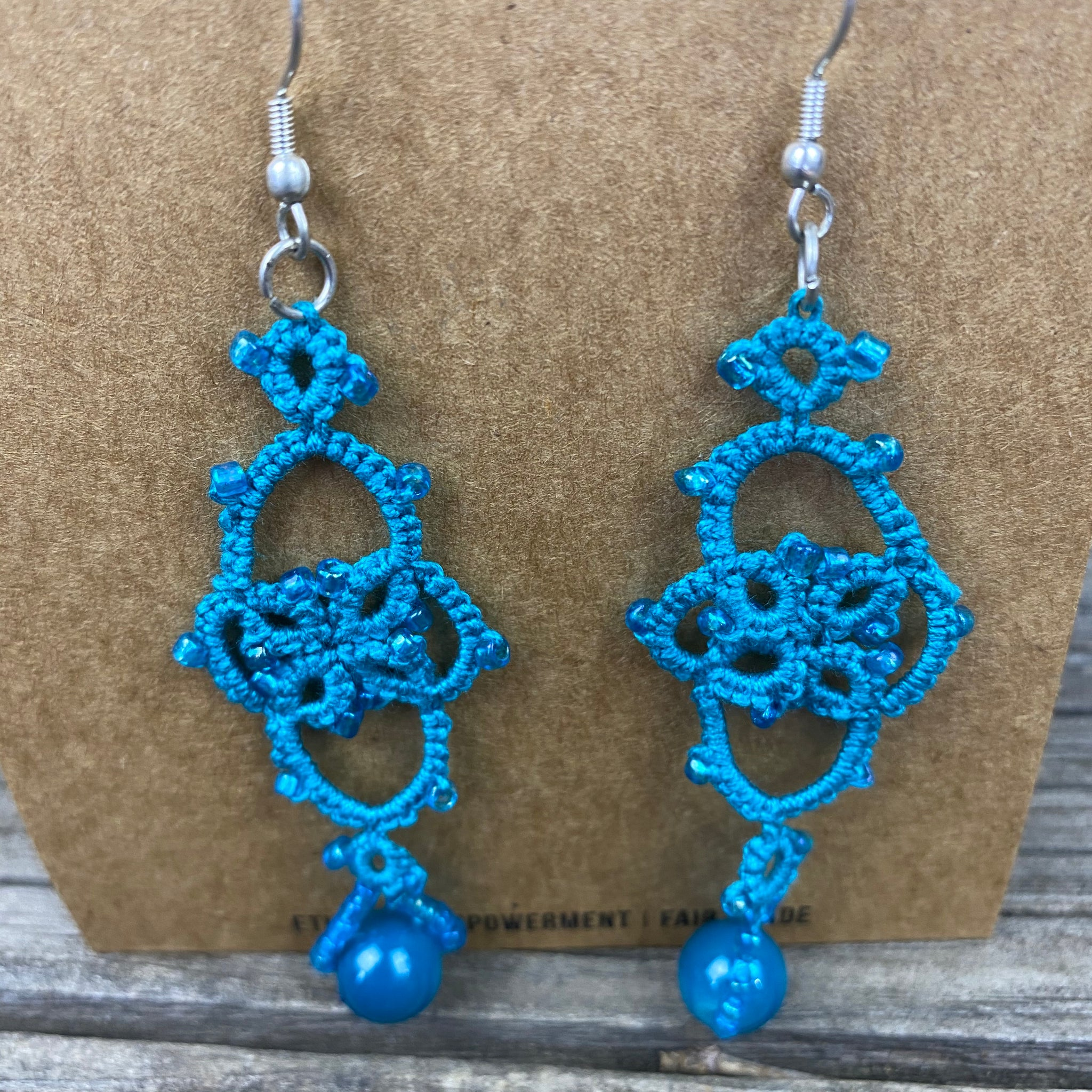 Fair Trade Tatted Dangle Flower Earrings