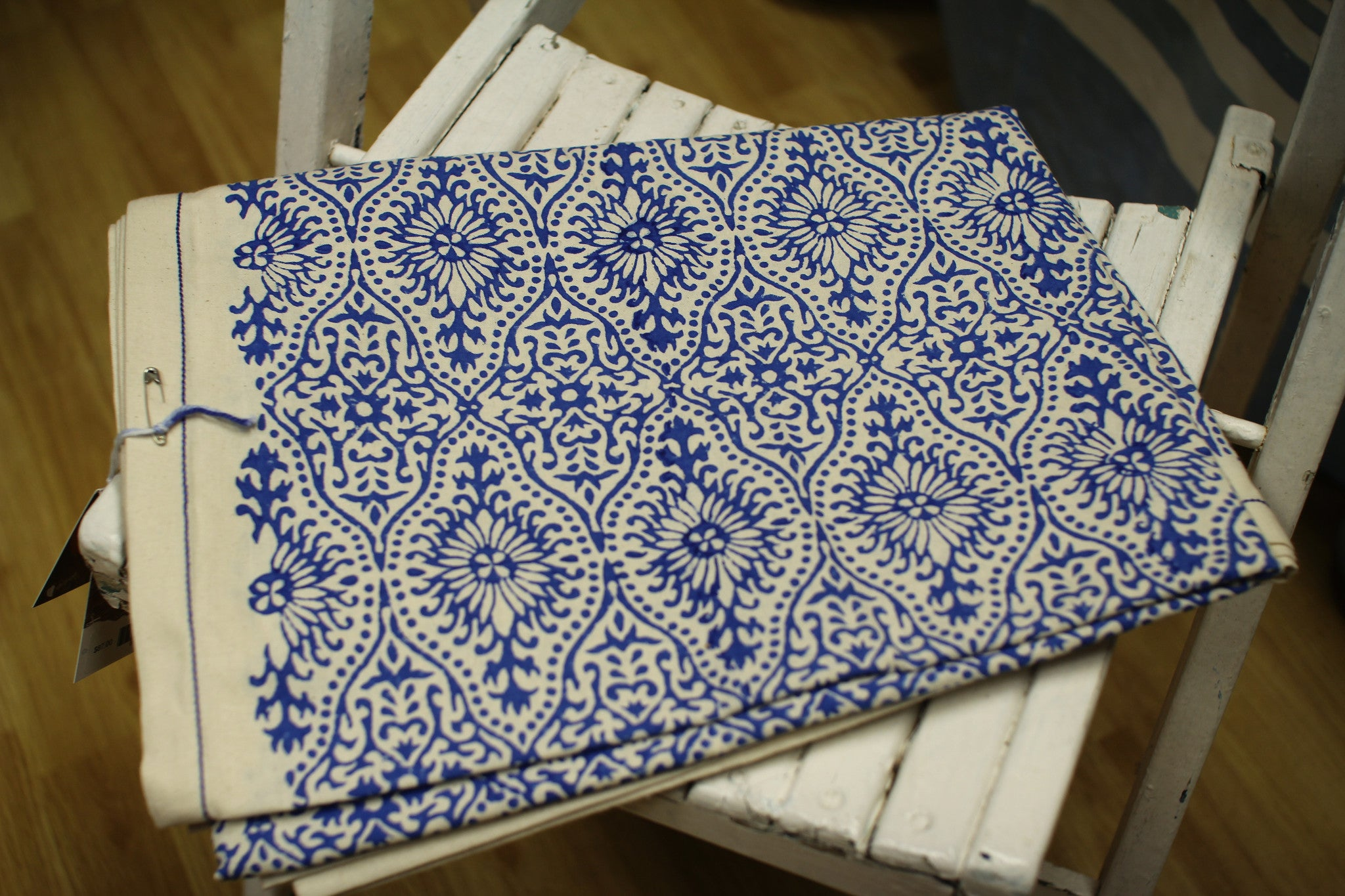 Fair Trade Ethical Block Printed Table Cloth Blue and White