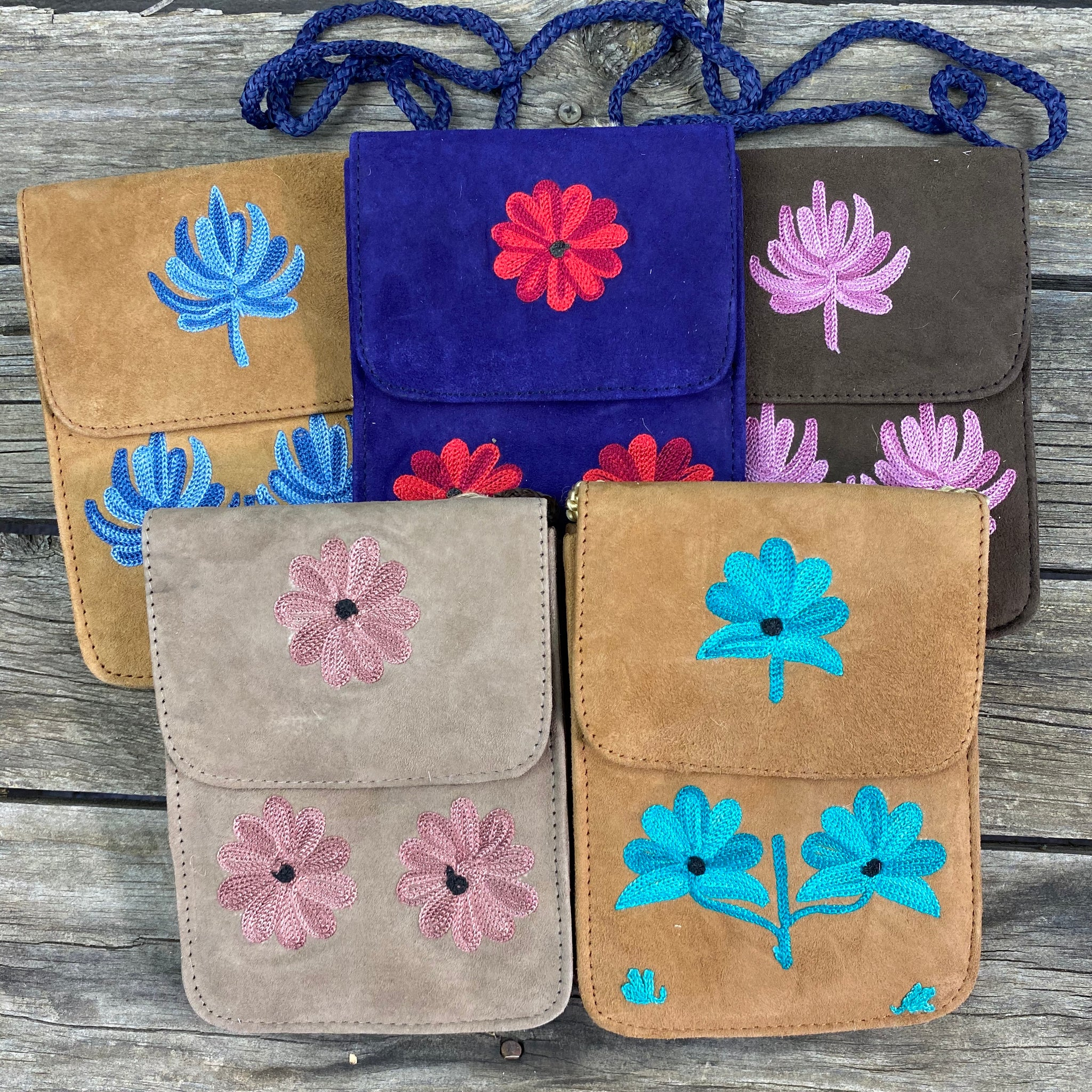 Fair Trade Embroidered Suede  Mobile Purse with Flap - Assorted
