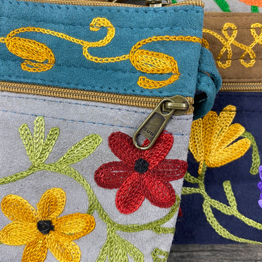 Fair Trade Ethical Embroidered Suede Three Zipper Purse Floral Design -Assorted