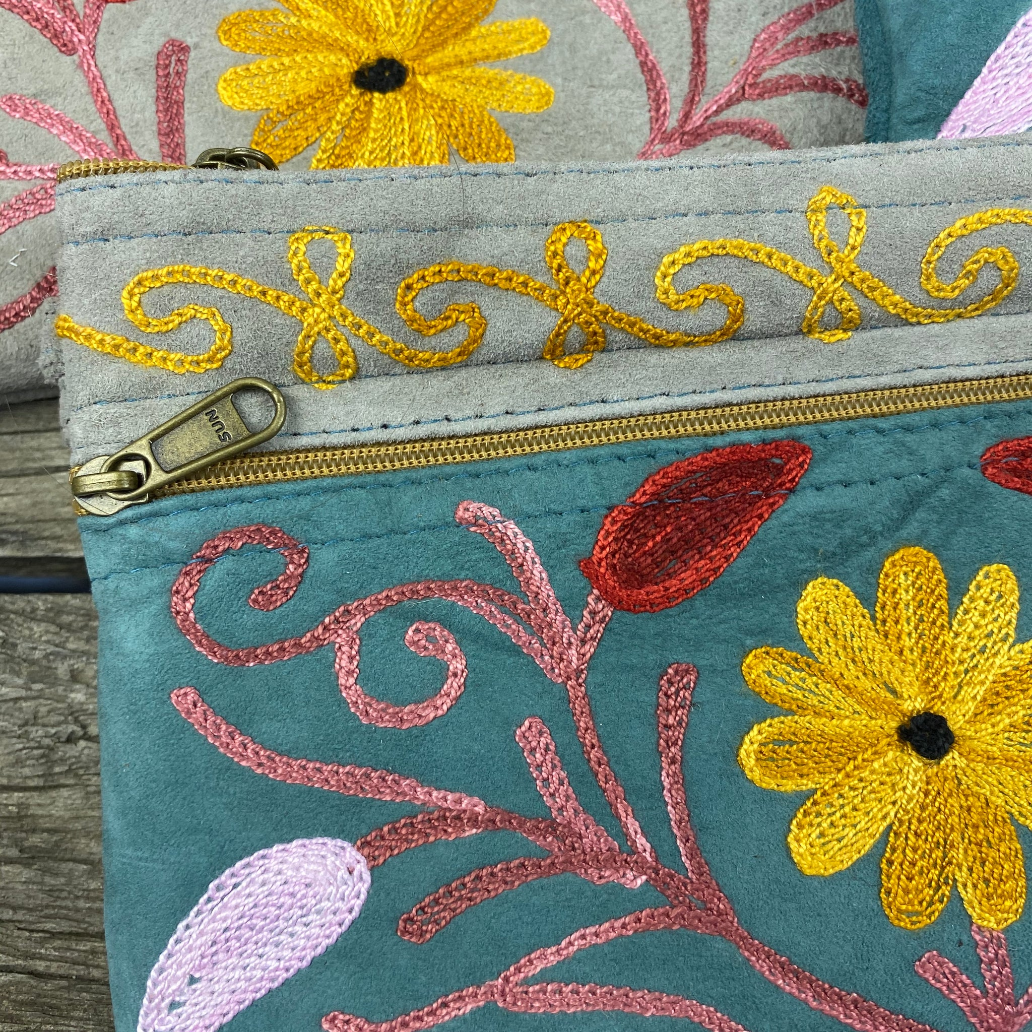 Fair Trade Ethical Embroidered Suede Three Zipper Purse Daisy Green and Grey -Assorted
