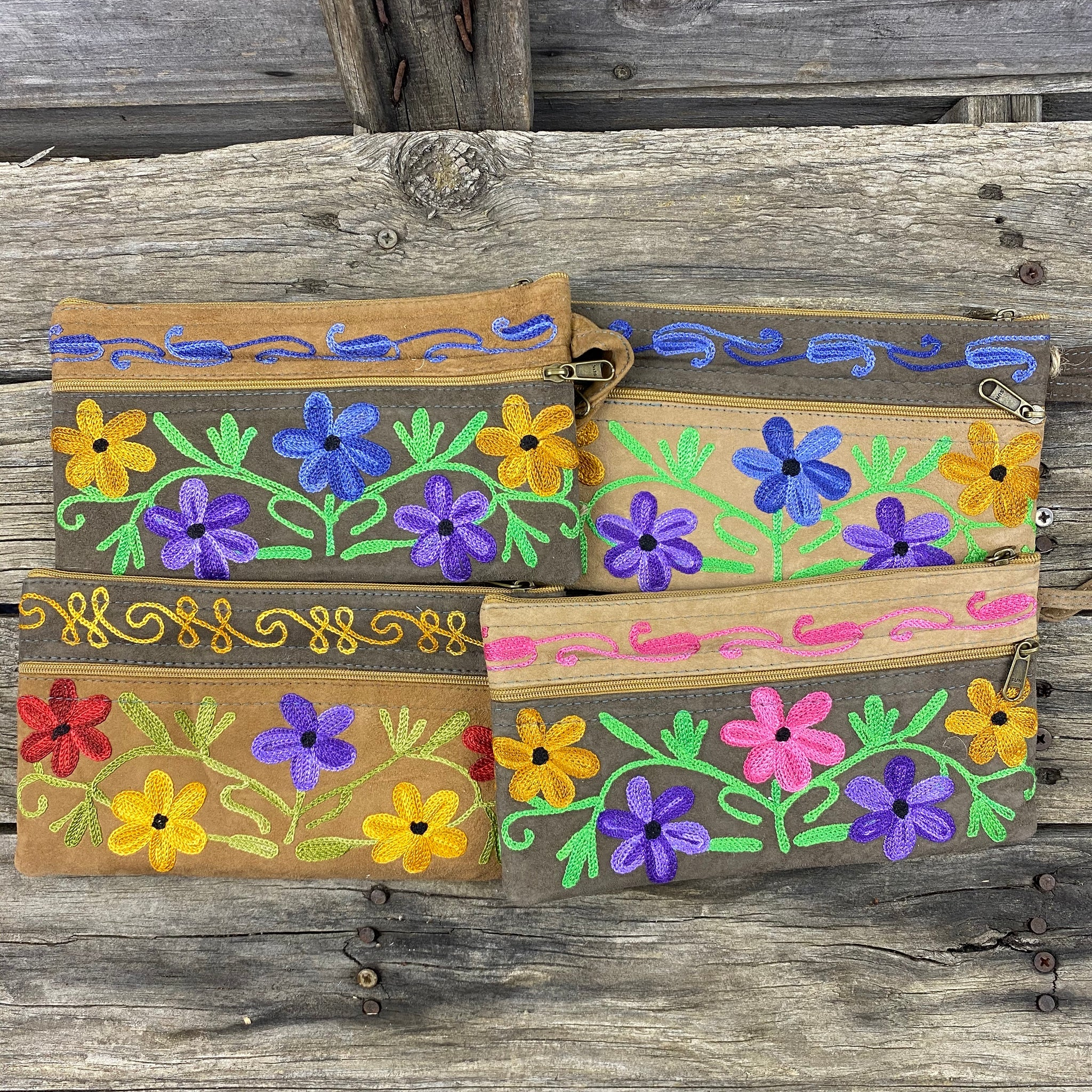 Fair Trade Ethical Embroidered Suede 3 Zipper Purse Daisys Browns Design- Assorted