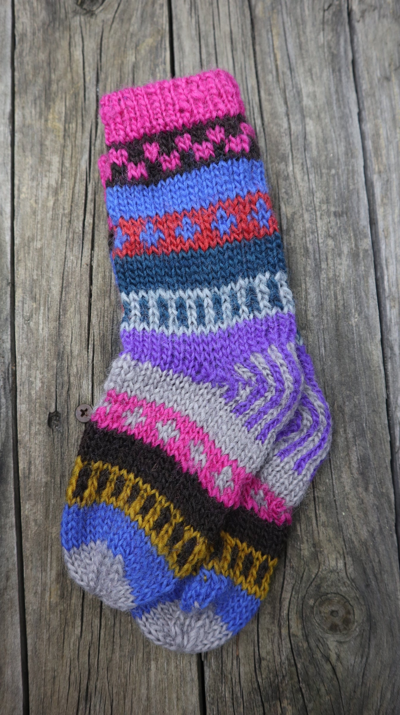 Fair Trade Ethical Children's Patterned Long Socks  in Purple, Pink and Brown