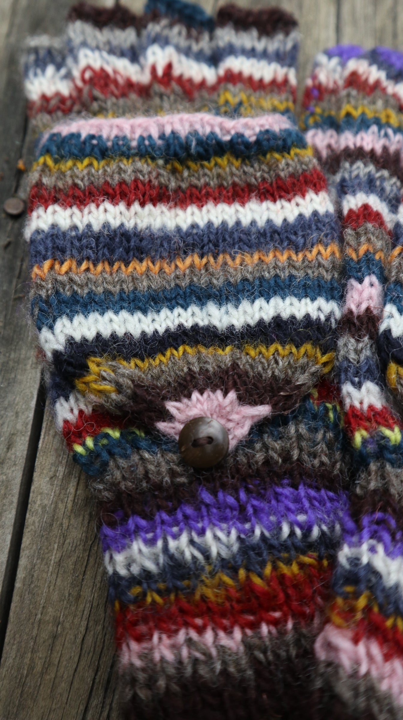 Fair Trade Ethical Adult Fingerless Gloves with Cap in Striped Brown Designs
