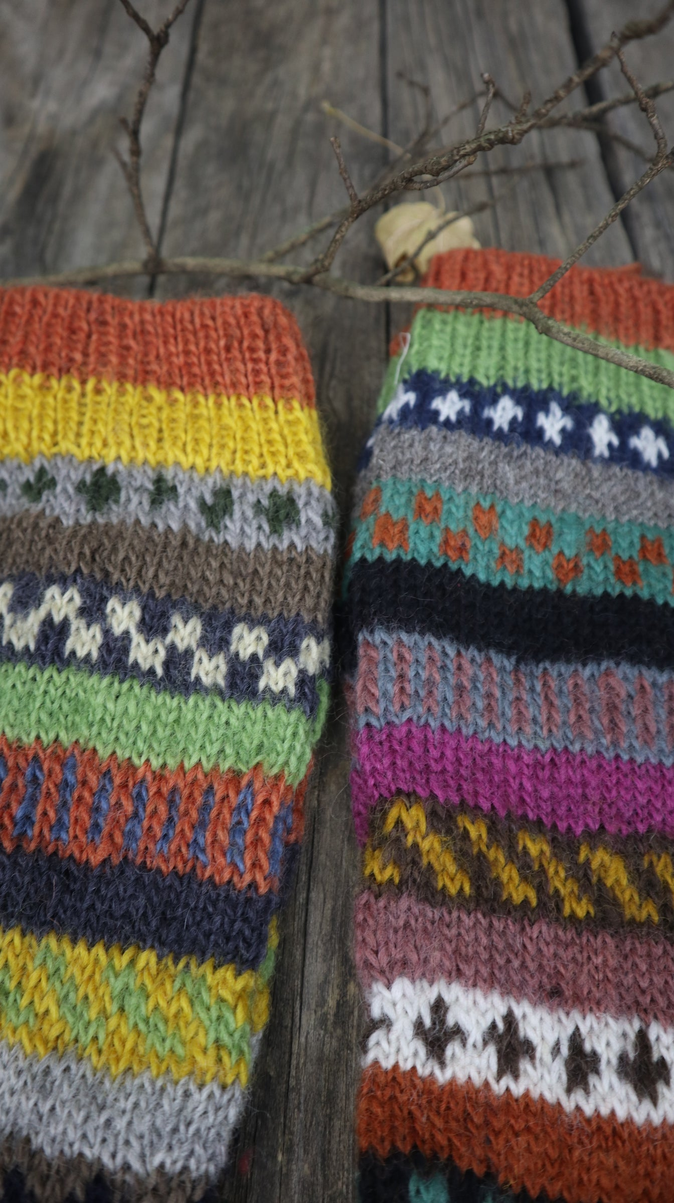Fair Trade Ethical Long Patterned Socks in Green