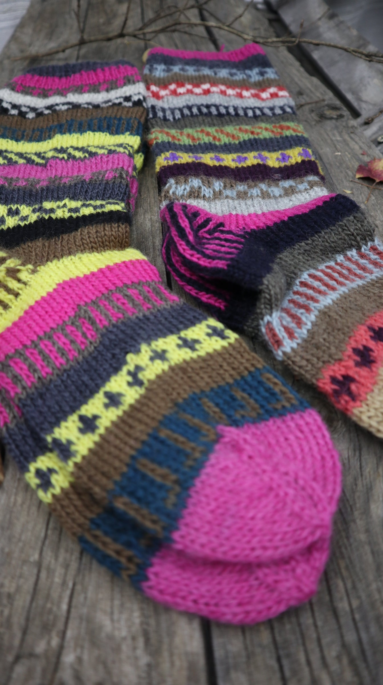 Fair Trade Ethical Long Patterned Socks in Purple