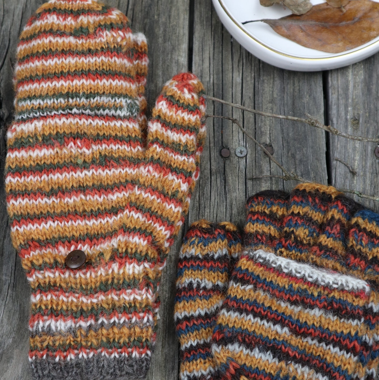 Fair Trade Ethical Adult Fingerless Gloves with Cap in Striped Design Grey and Orange