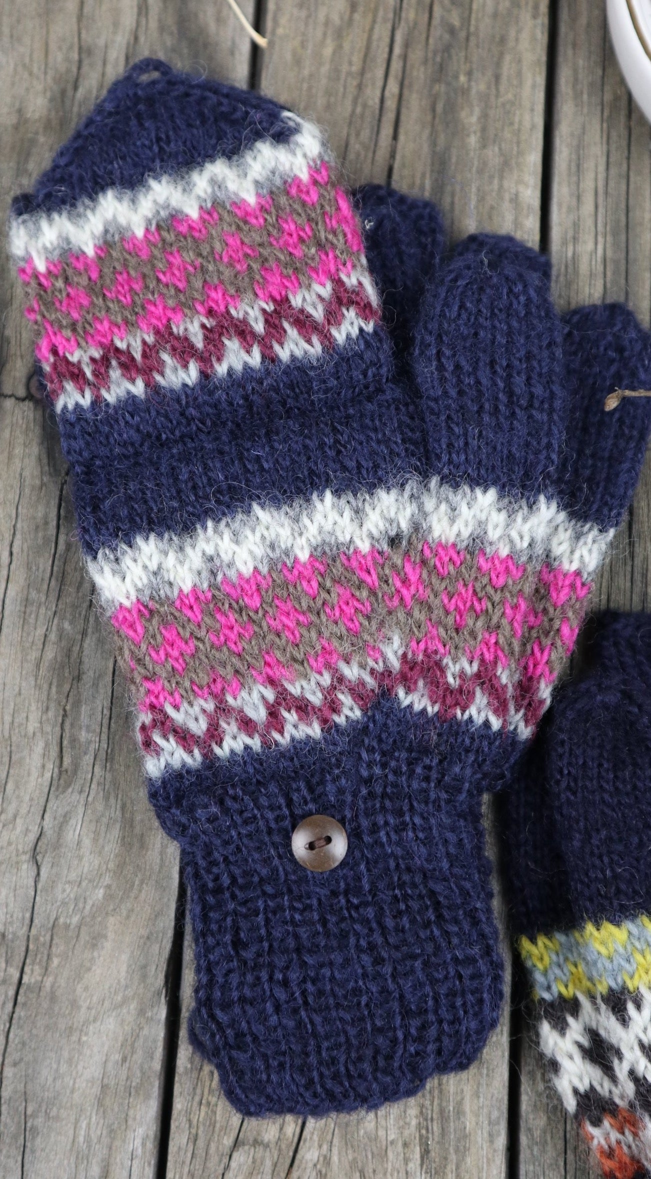 Fair Trade Ethical Adult Fingerless Gloves with Cap Patterned Design Multi Colours