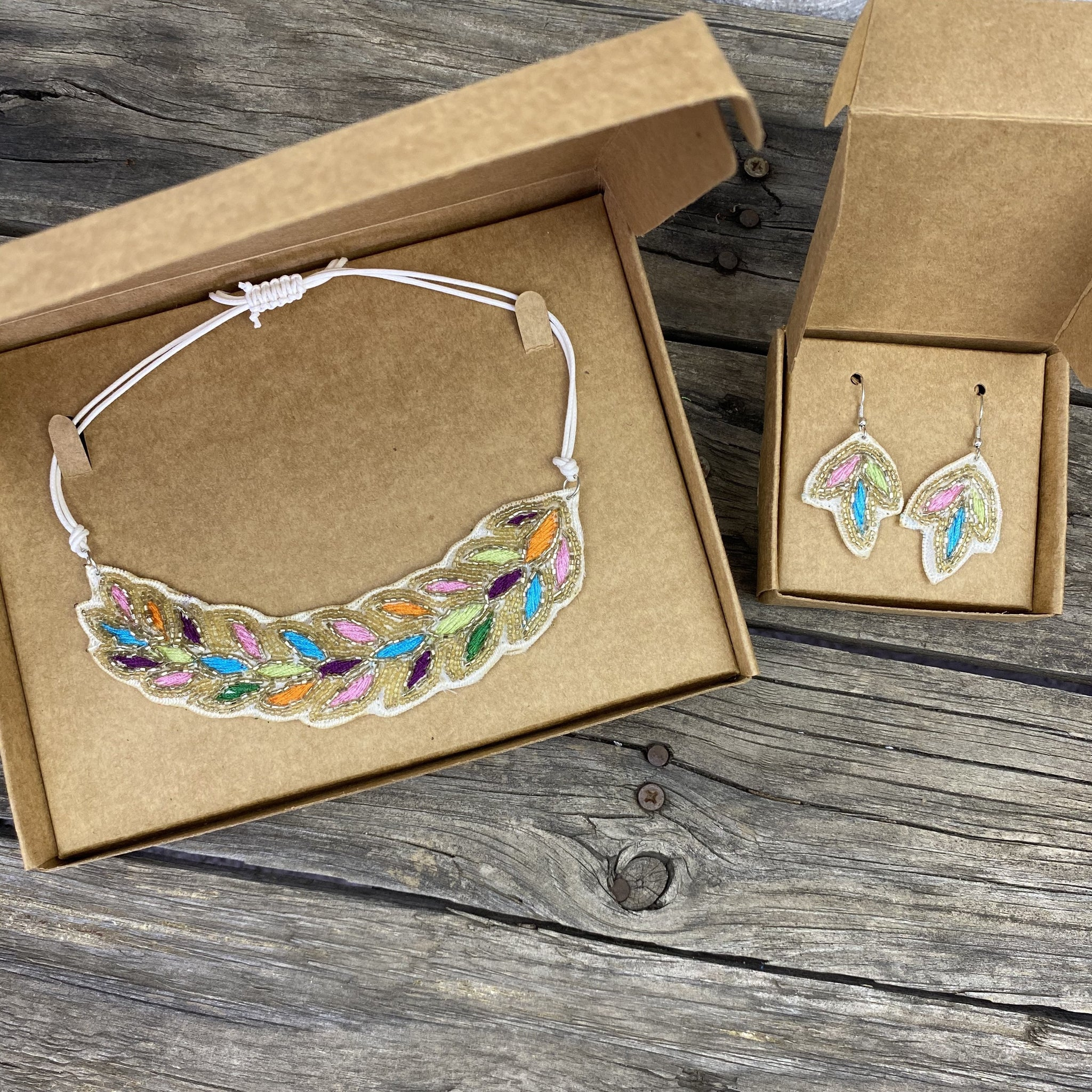 Fair Trade Rainbow Droplets Necklace Earring Jewellery Set