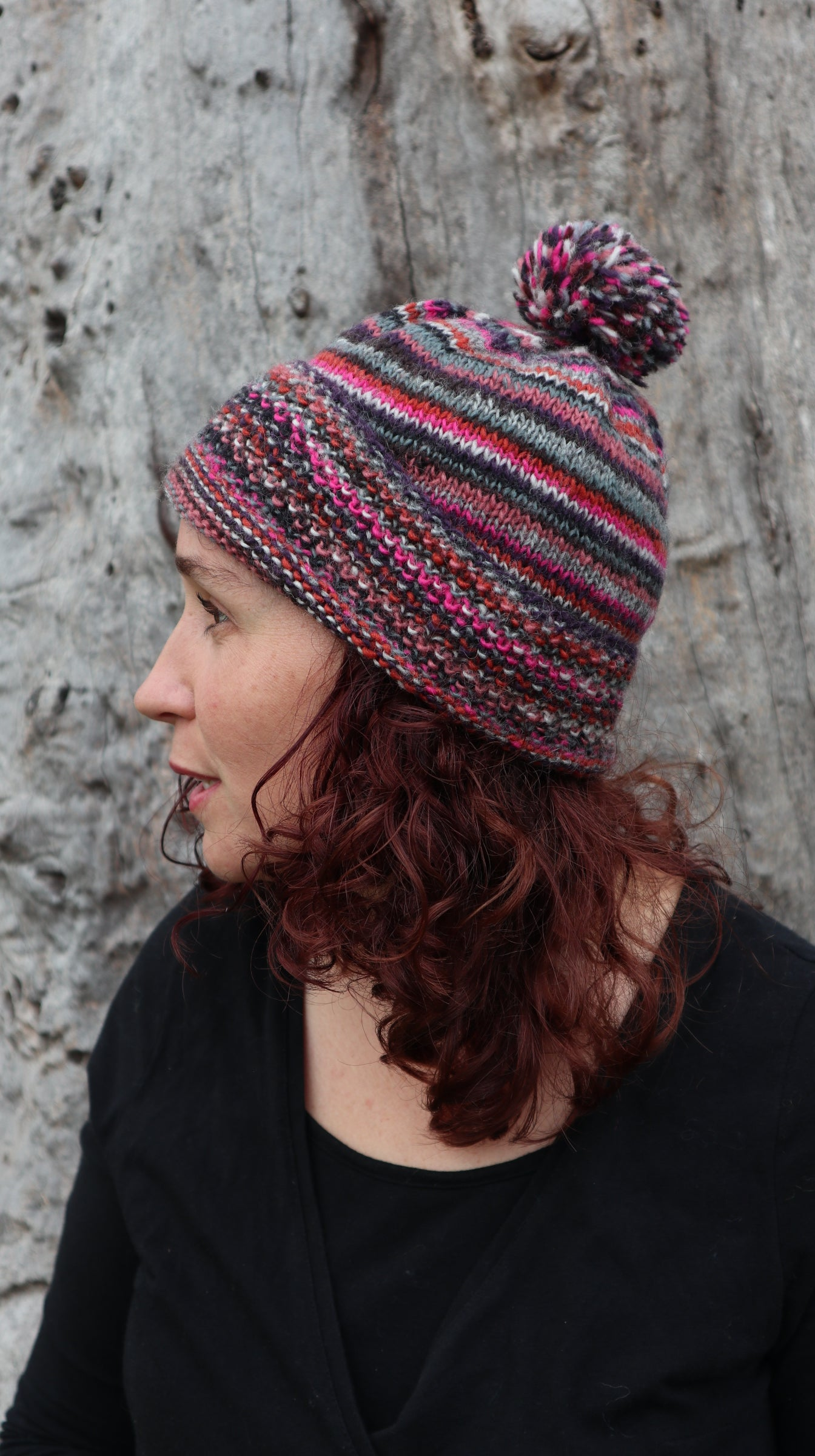Fair Trade Ethical Woollen Beanie in Striped Multi Coloured Design with Pom Pom