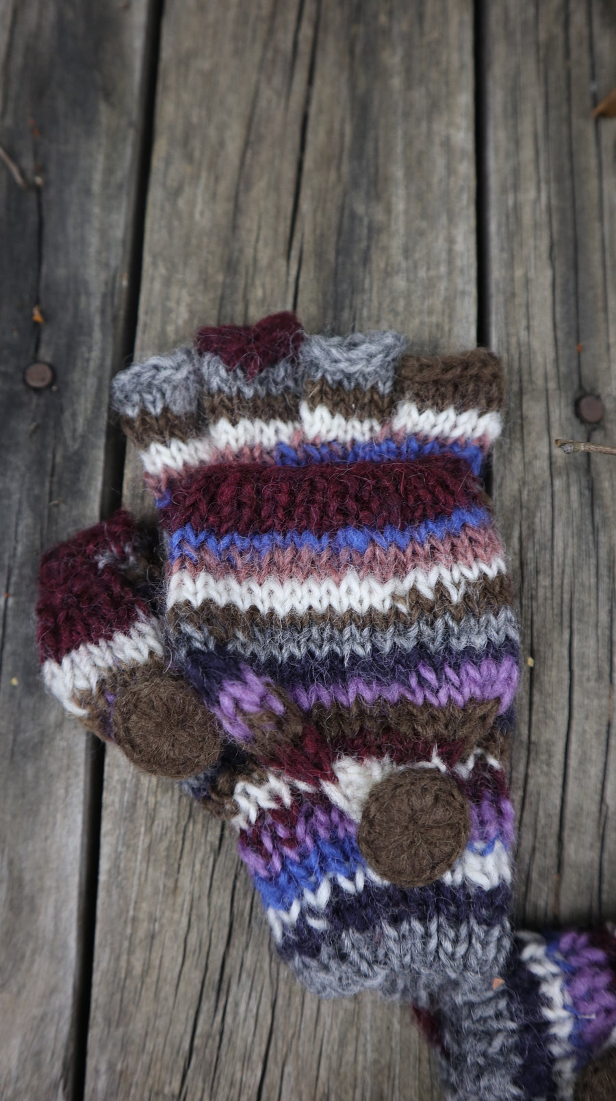 Fair Trade Ethical Children's Striped Fingerless Gloves with Cap in Brown, Grey and Blue