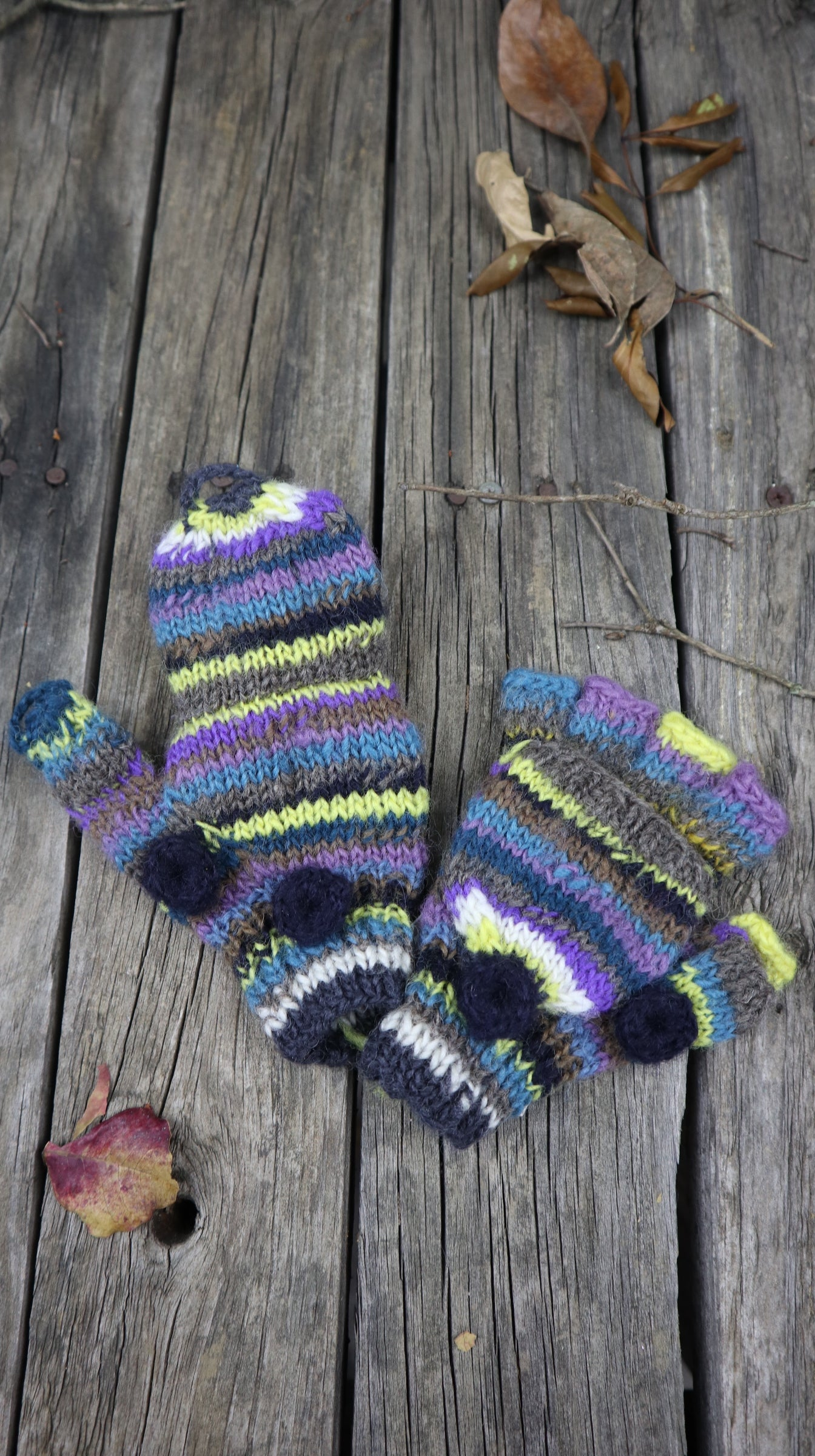Fair Trade Ethical Children's Striped Fingerless Gloves with Cap in  Purple, Yellow and Brown