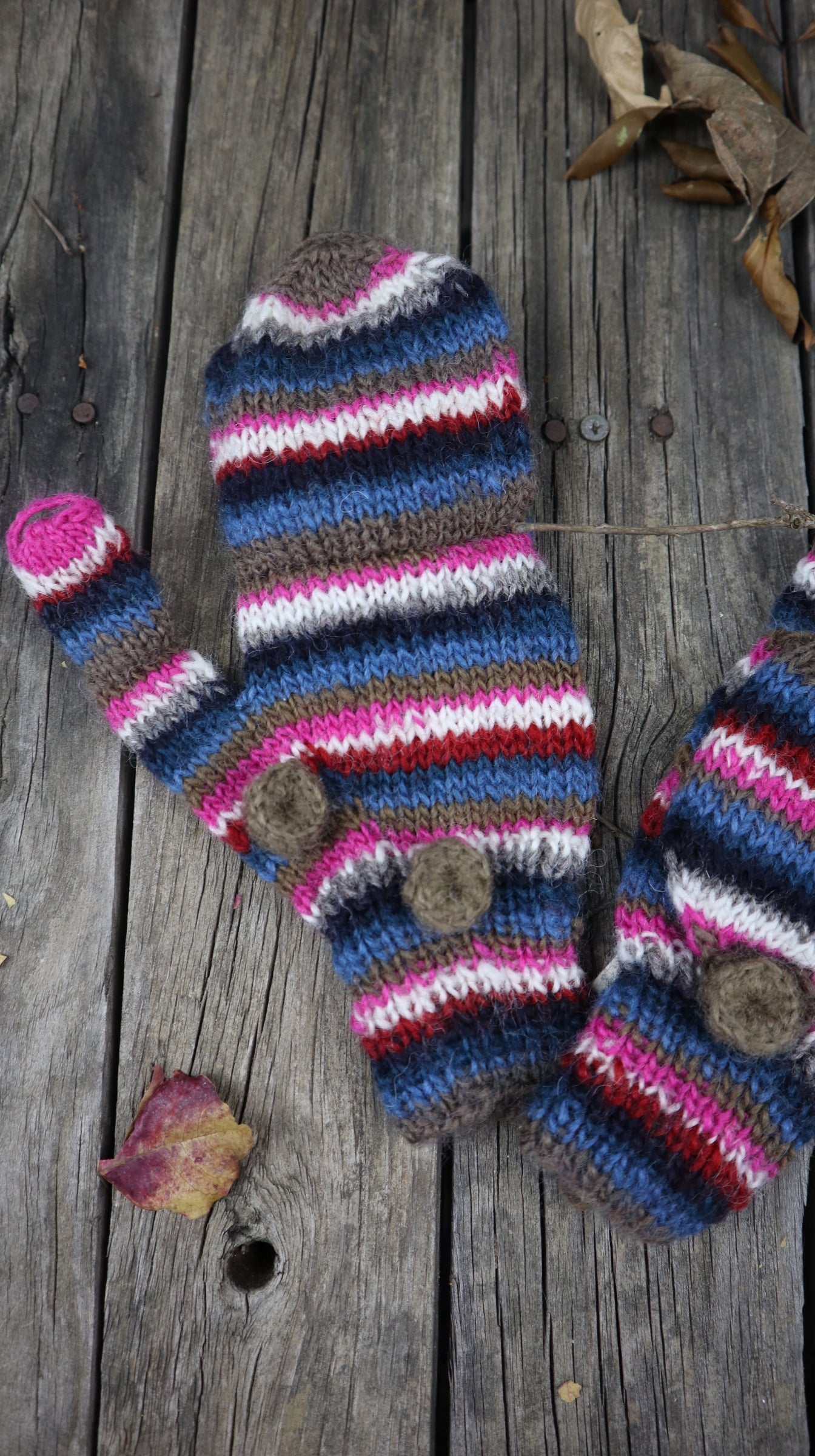 Fair Trade Ethical Children's Striped Fingerless Gloves with Cap in Pink, Brown and Black