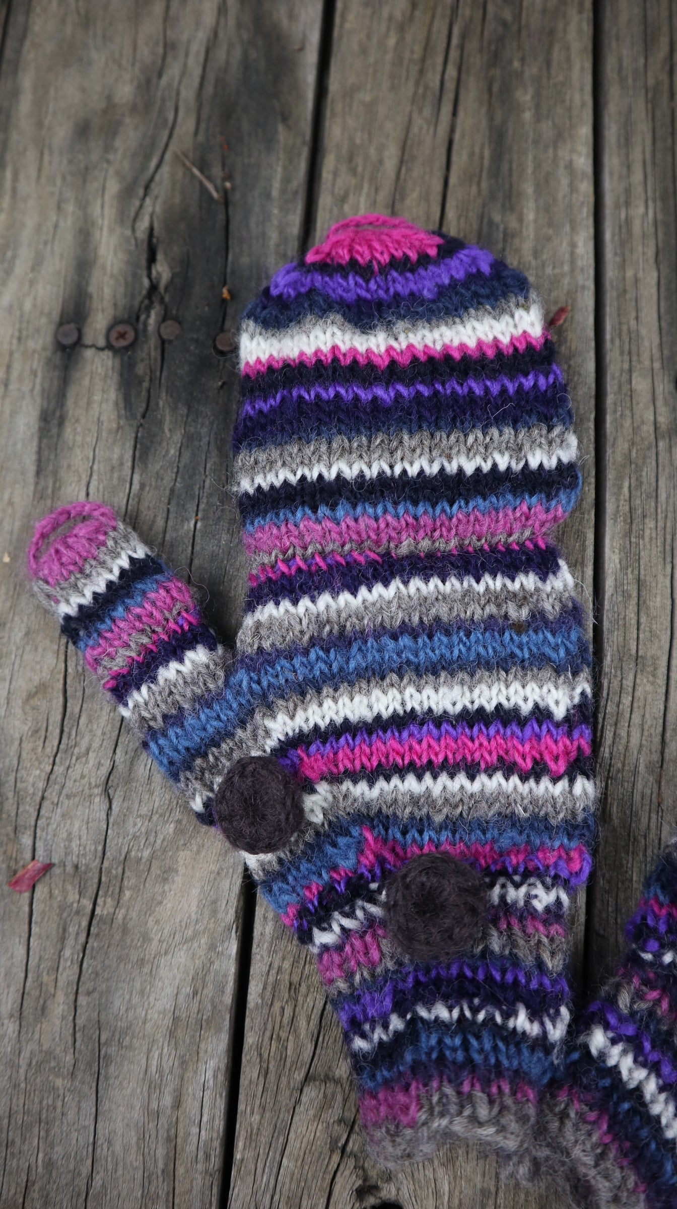 Fair Trade Ethical Children's Striped Fingerless Gloves with Cap in Pink, Purple, Brown and Black