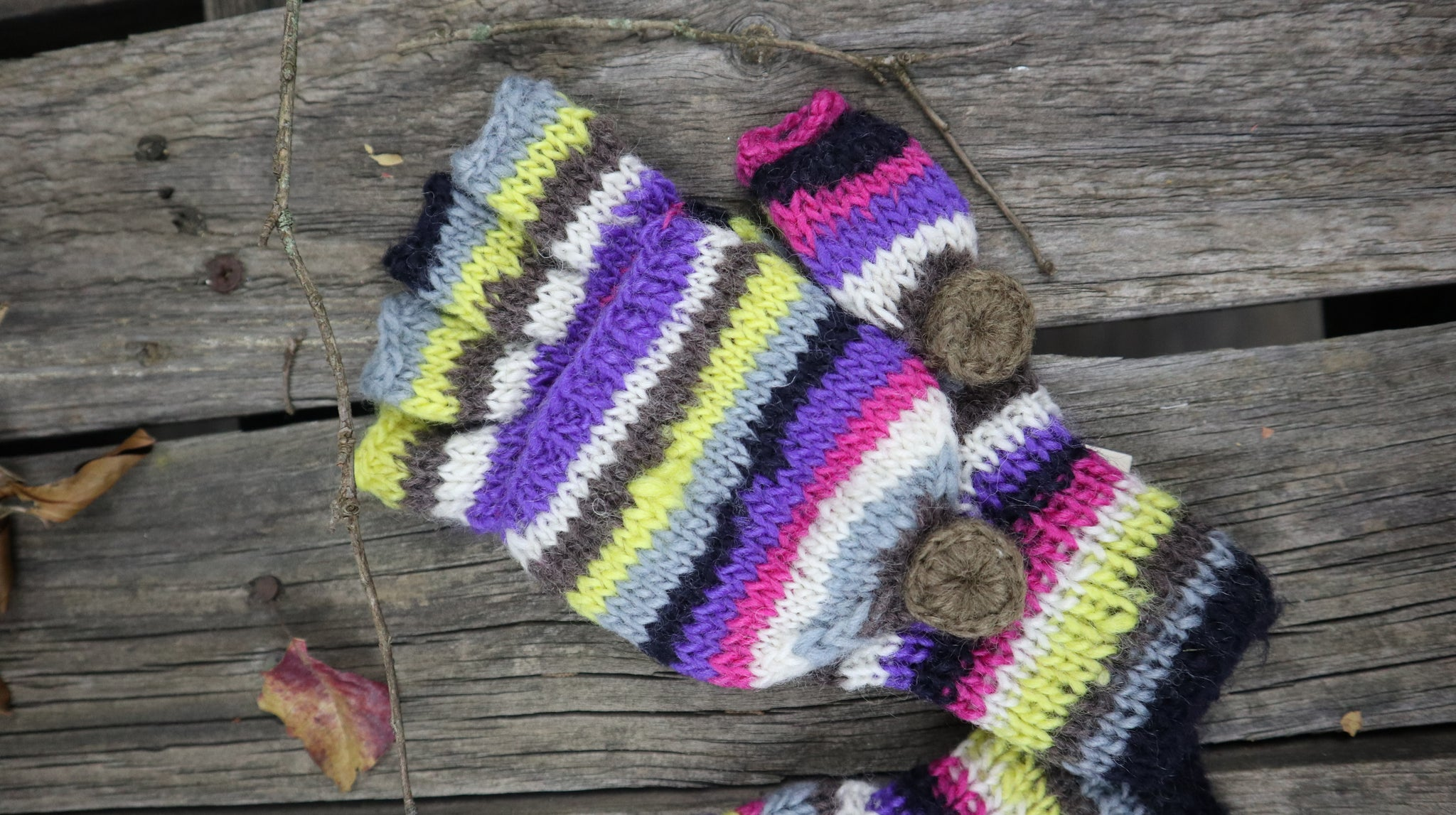 Fair Trade Ethical Children's Striped Fingerless Gloves with Cap in Pink Purple, Yellow and Grey