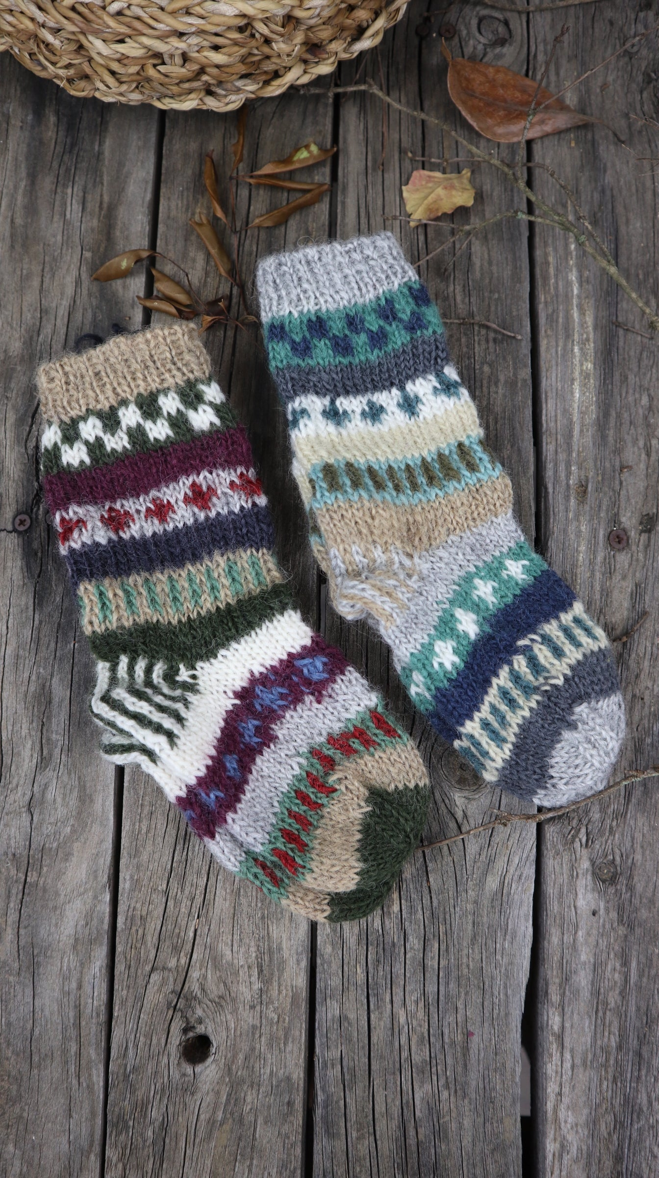 Fair Trade Ethical Children's Woollen Patterned Socks in Green, Grey and White