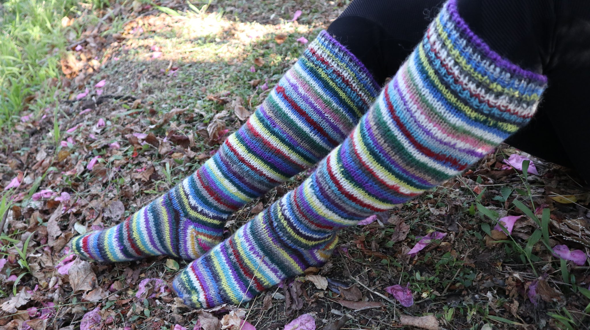 Fair Trade Ethical Adult Long Striped Socks in Brown