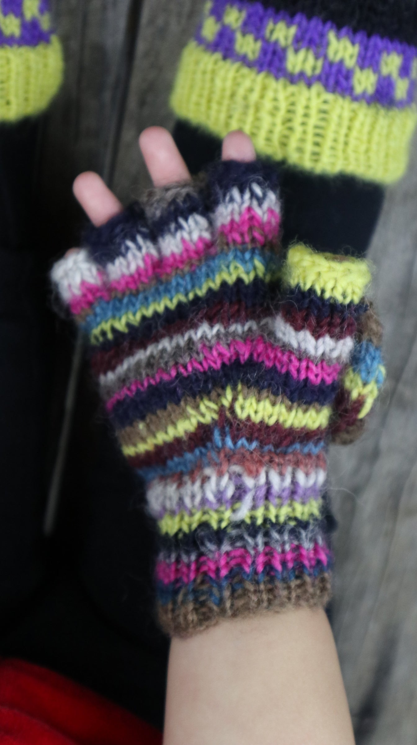 Fair Trade Ethical Children's Striped Fingerless Gloves with Cap in Pink, Yellow and Brown