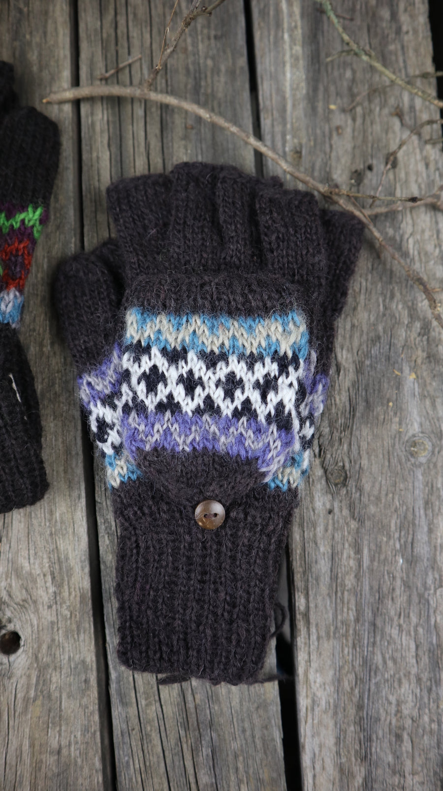 Fair Trade Ethical Adult Fingerless Gloves with Cap Patterned Design Browns