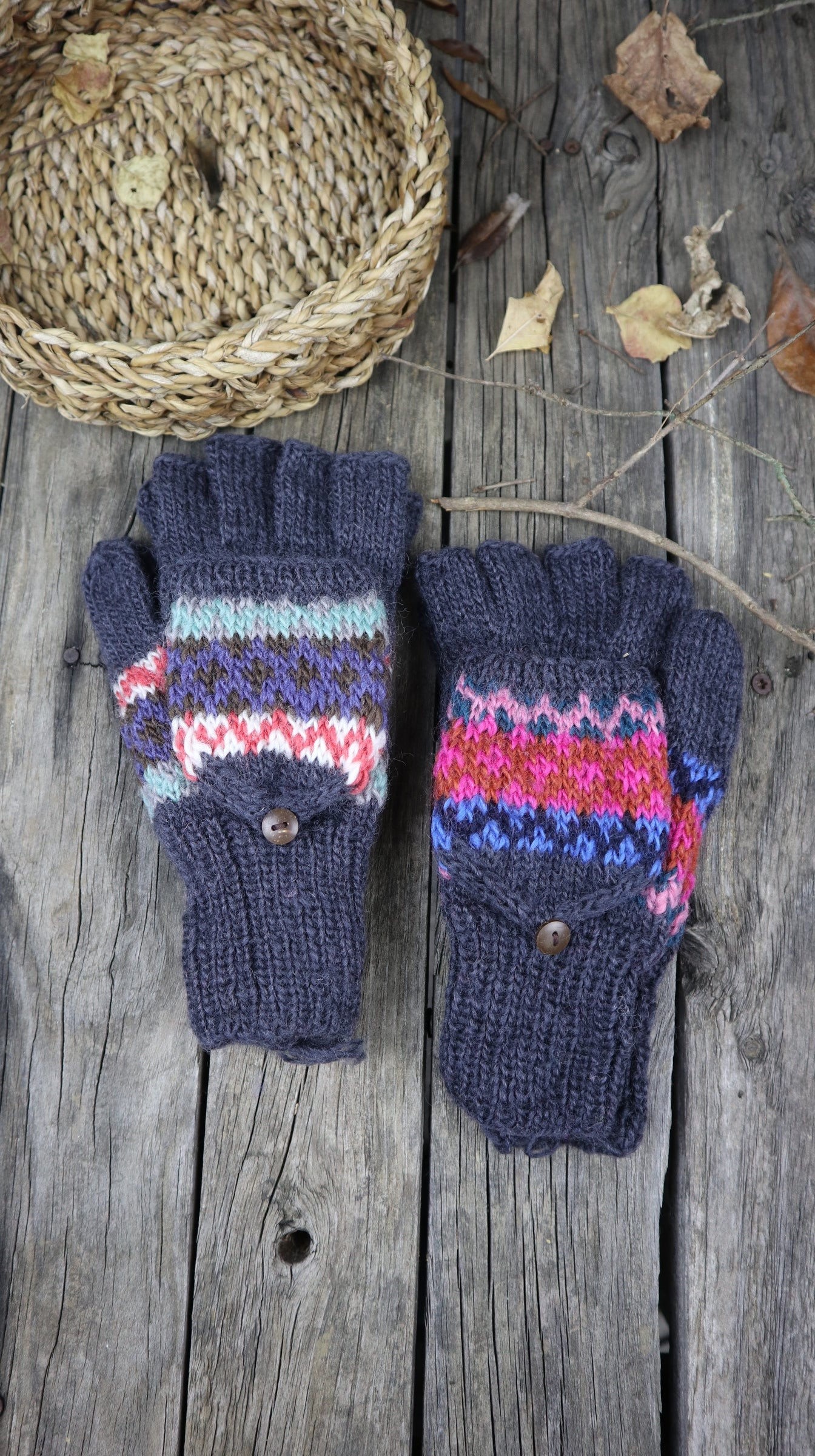 Fair Trade Ethical Adult Fingerless Gloves with Cap Patterned Design Greys