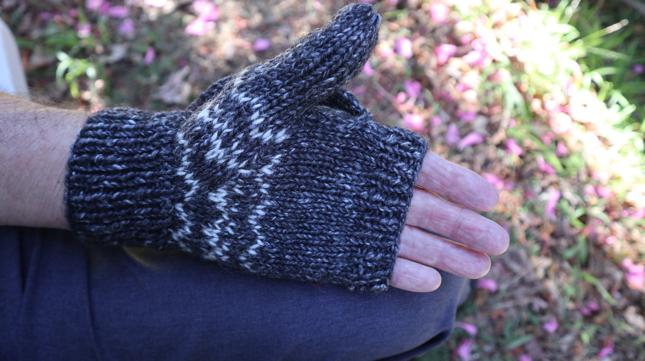 Fair Trade Ethical Adult Fingerless Gloves with Cap in Grey
