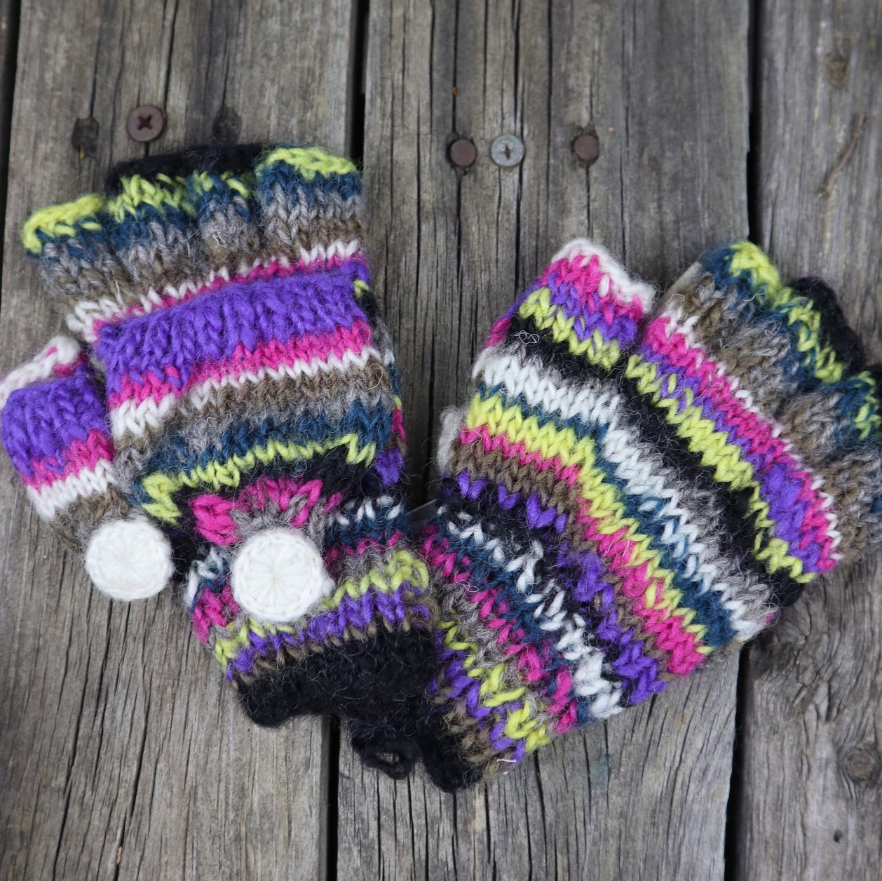 Fair Trade Ethical Children's Striped Fingerless Gloves with Cap in Pink, Purple, Yellow and Green