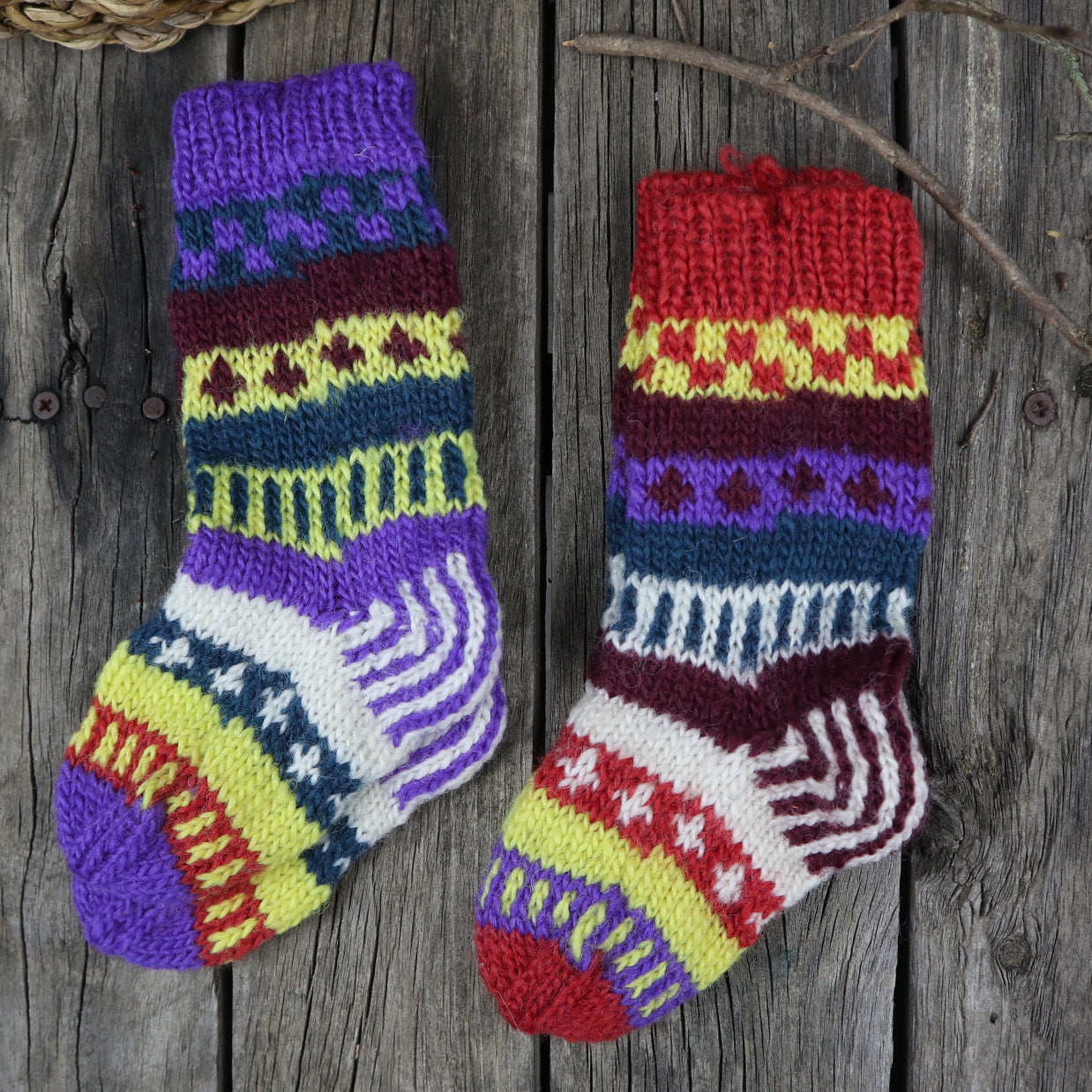 Fair Trade Ethical Children's Woollen Patterned Socks in Purple, Green and Yellow