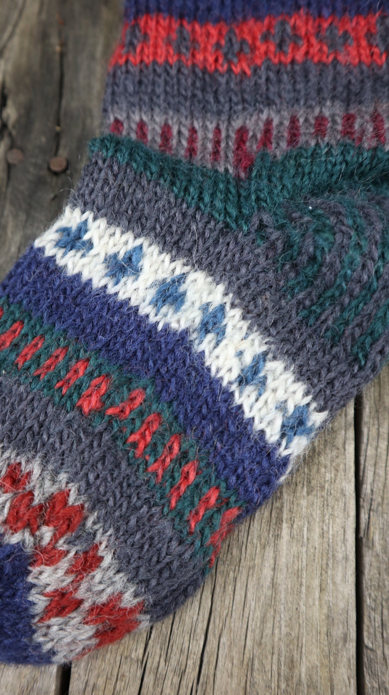 Fair Trade Ethical Children's Patterned Woollen Socks in Green, Brown and Red