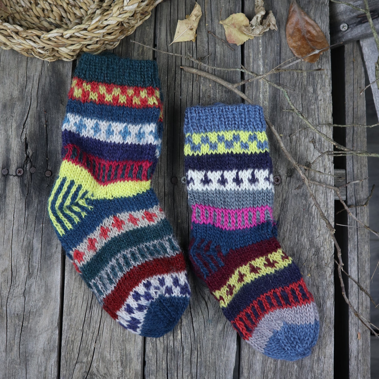 Fair Trade Ethical Children's Patterned Woollen Socks in Green, Grey and Red