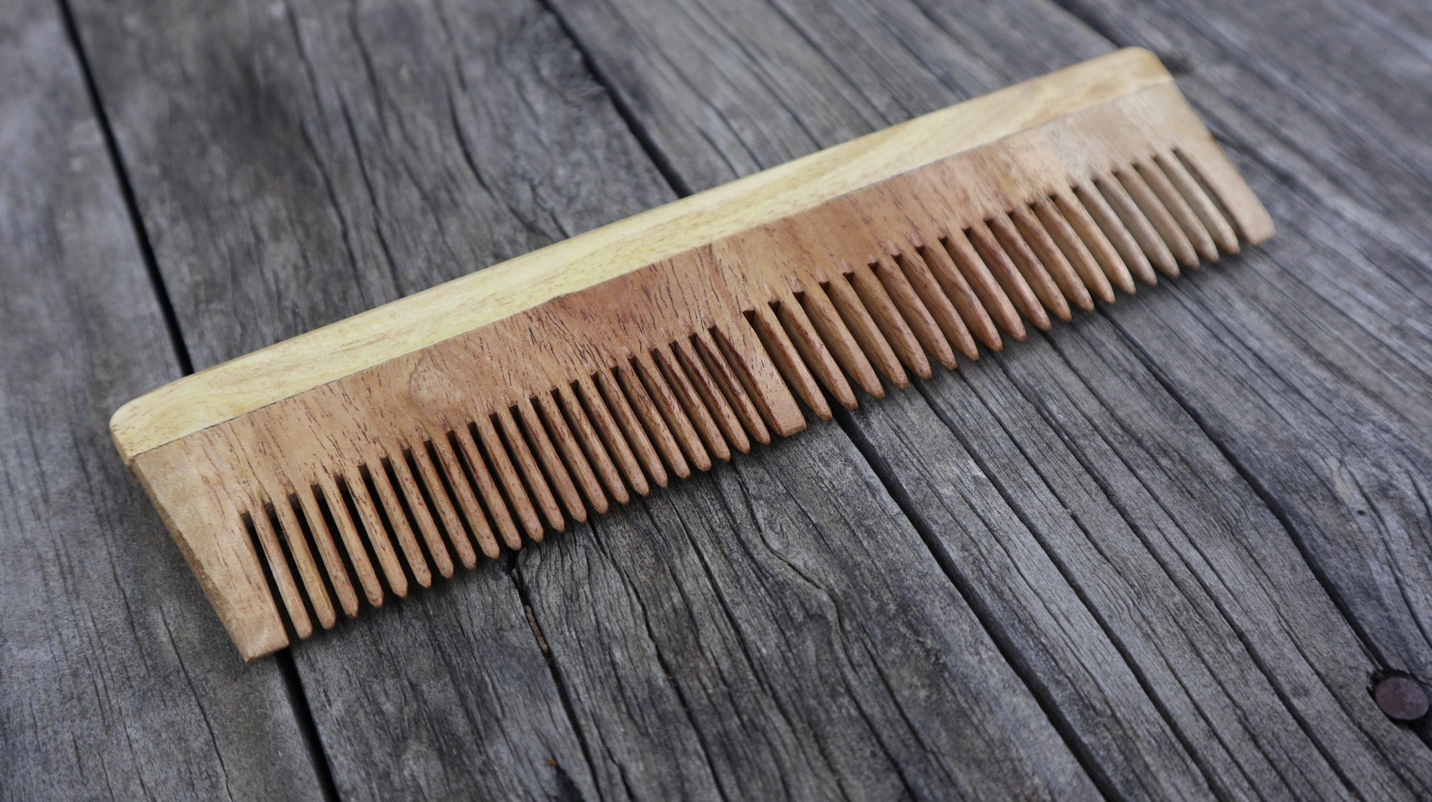 Fair Trade Ethical Wooden Two Widths Comb