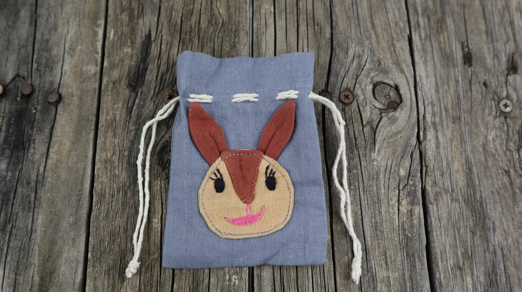 Fair Trade Ethical Small Cotton Gift Bag Kangaroo