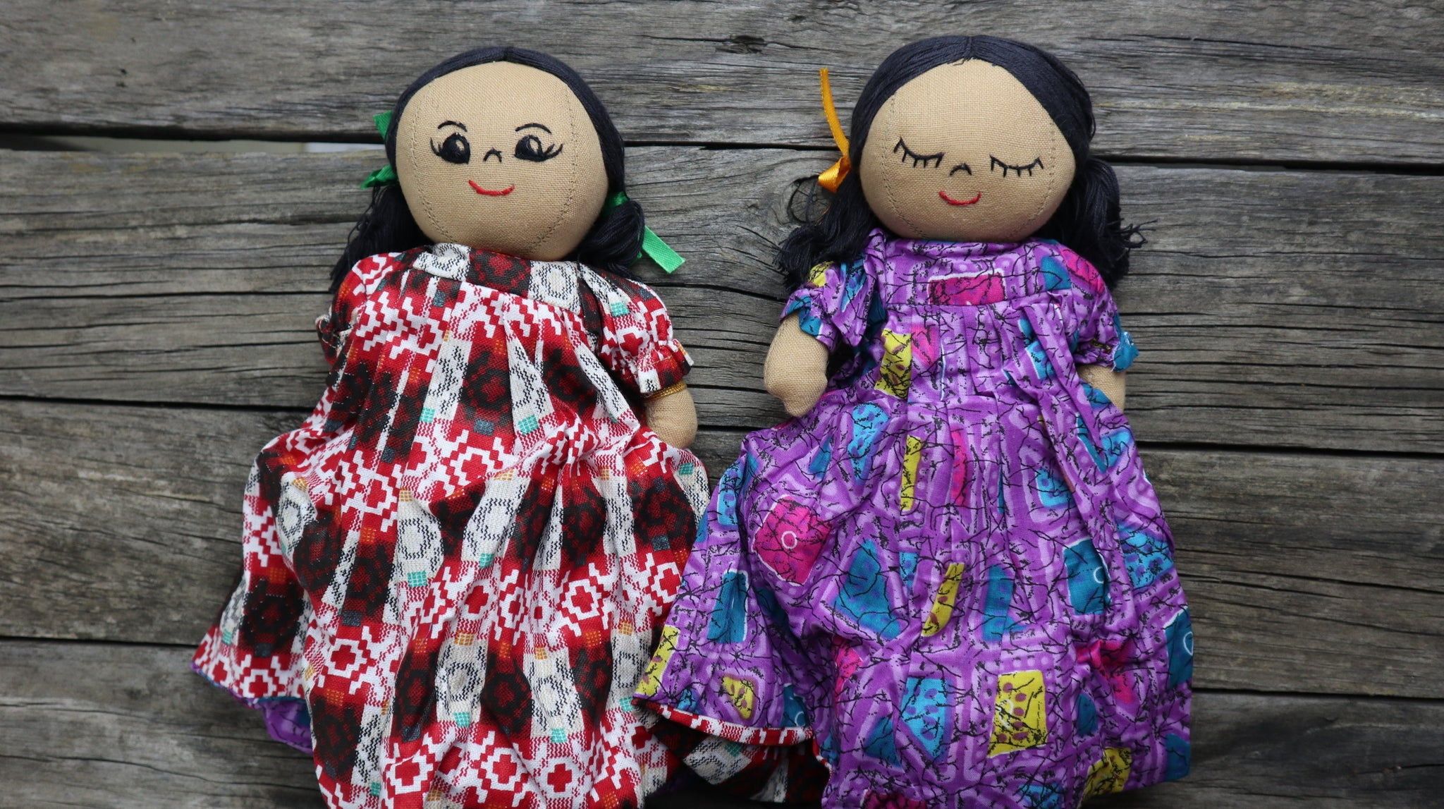 Fair Trade Ethical Cotton Upside Down Doll Purple and Red