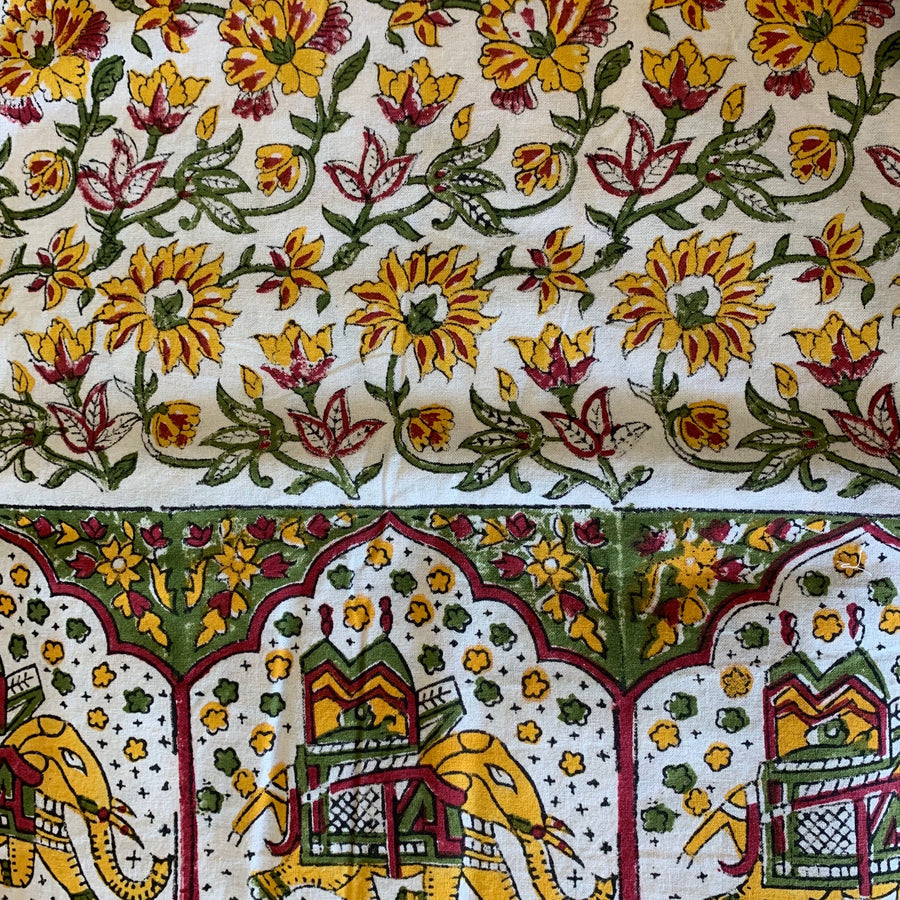 Block Printed Table Cloth-Yellow, Red, Green, White