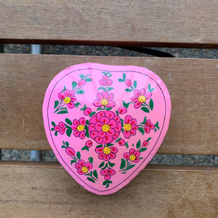 Fair Trade Ethical Papier Mache Painted Pink Heart Box